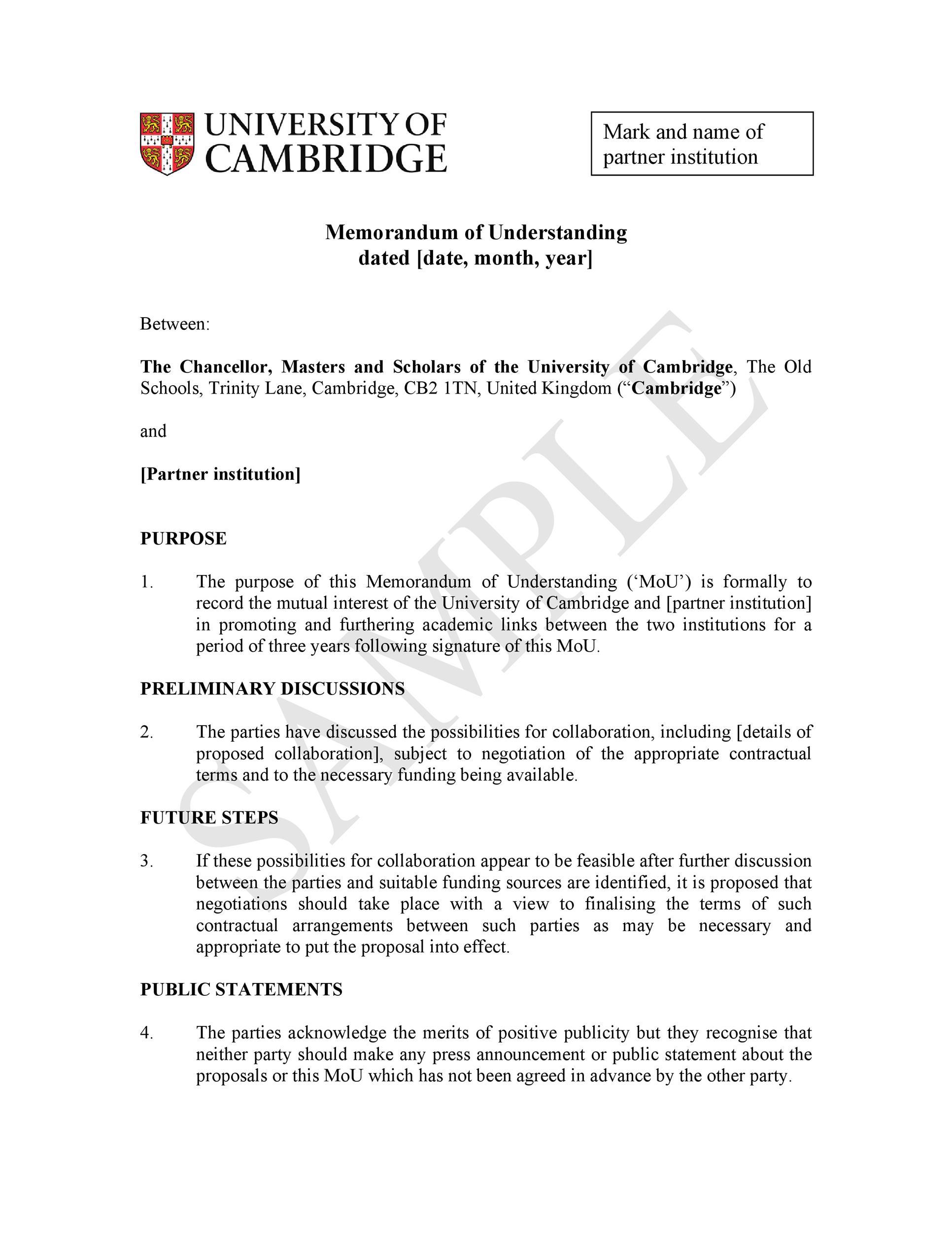 Free Memorandum of Understanding Template 30