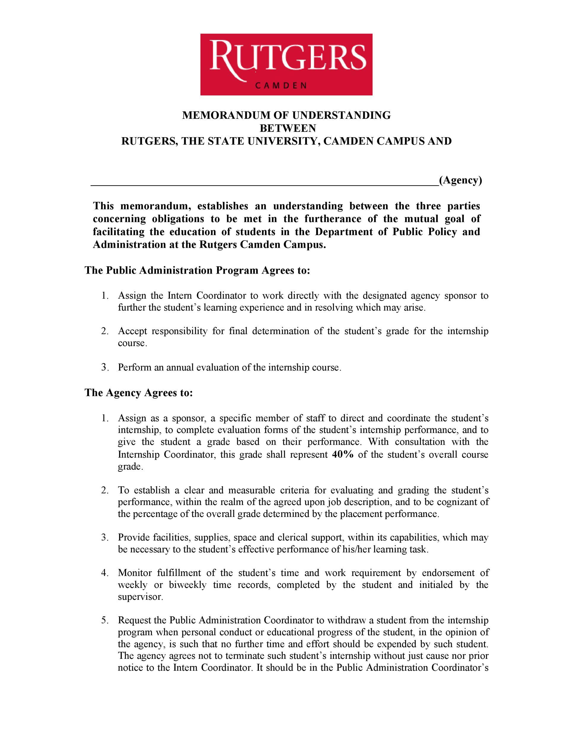 Free Memorandum of Understanding Template 31