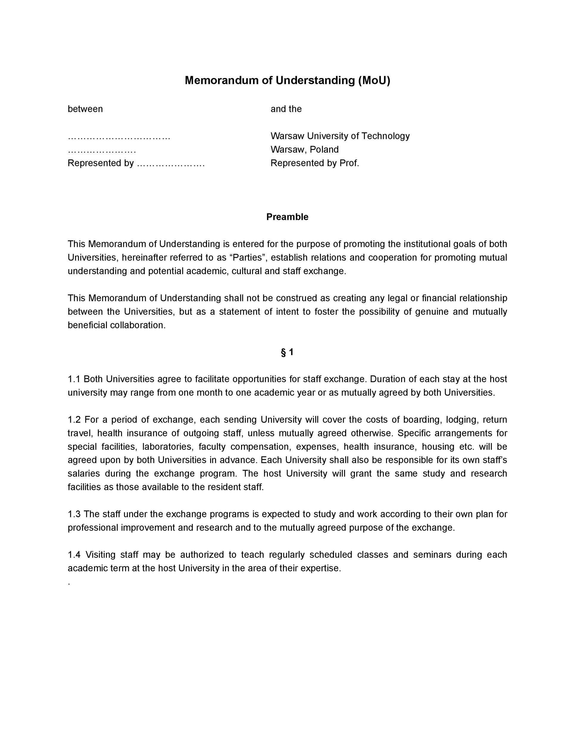 Free Memorandum of Understanding Template 37