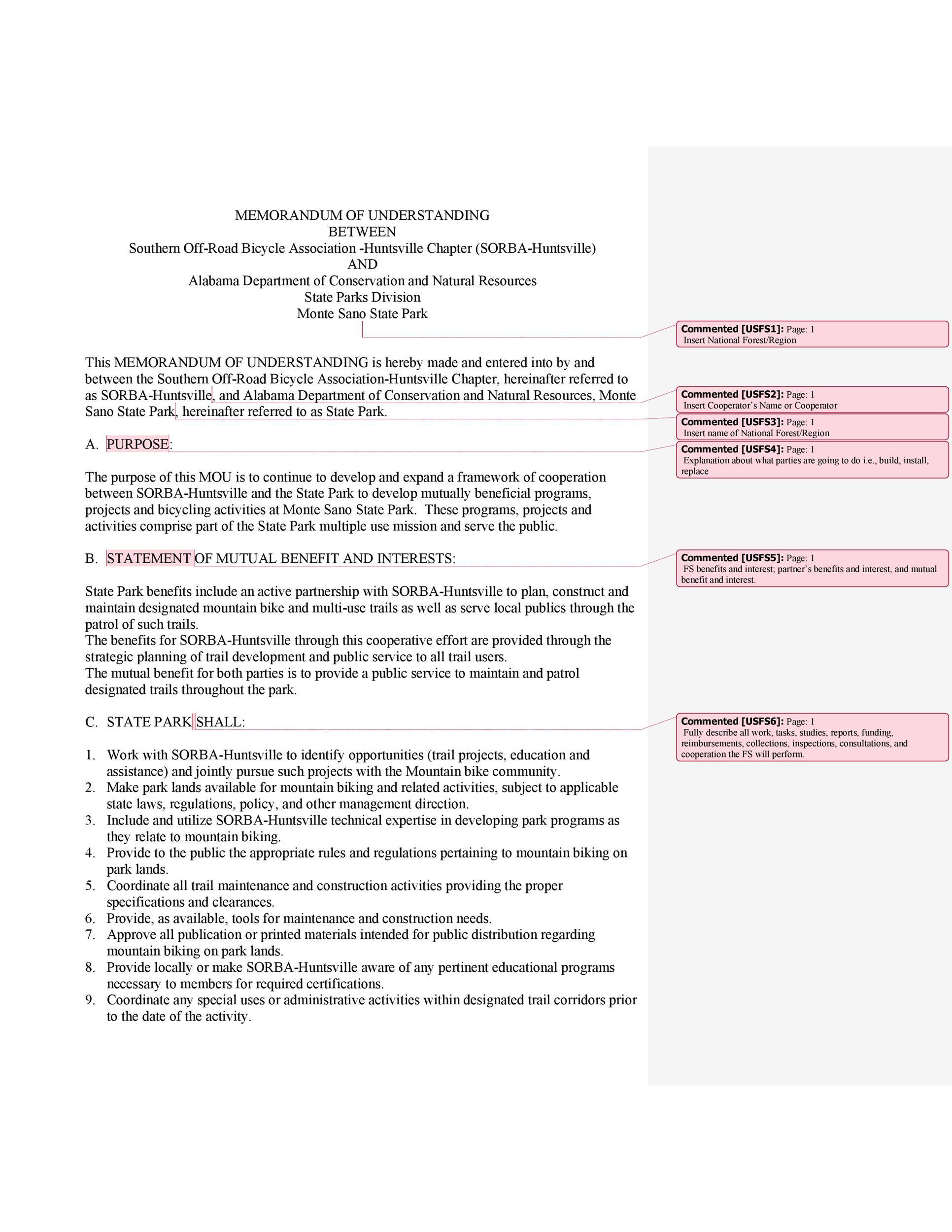 Free Memorandum of Understanding Template 40