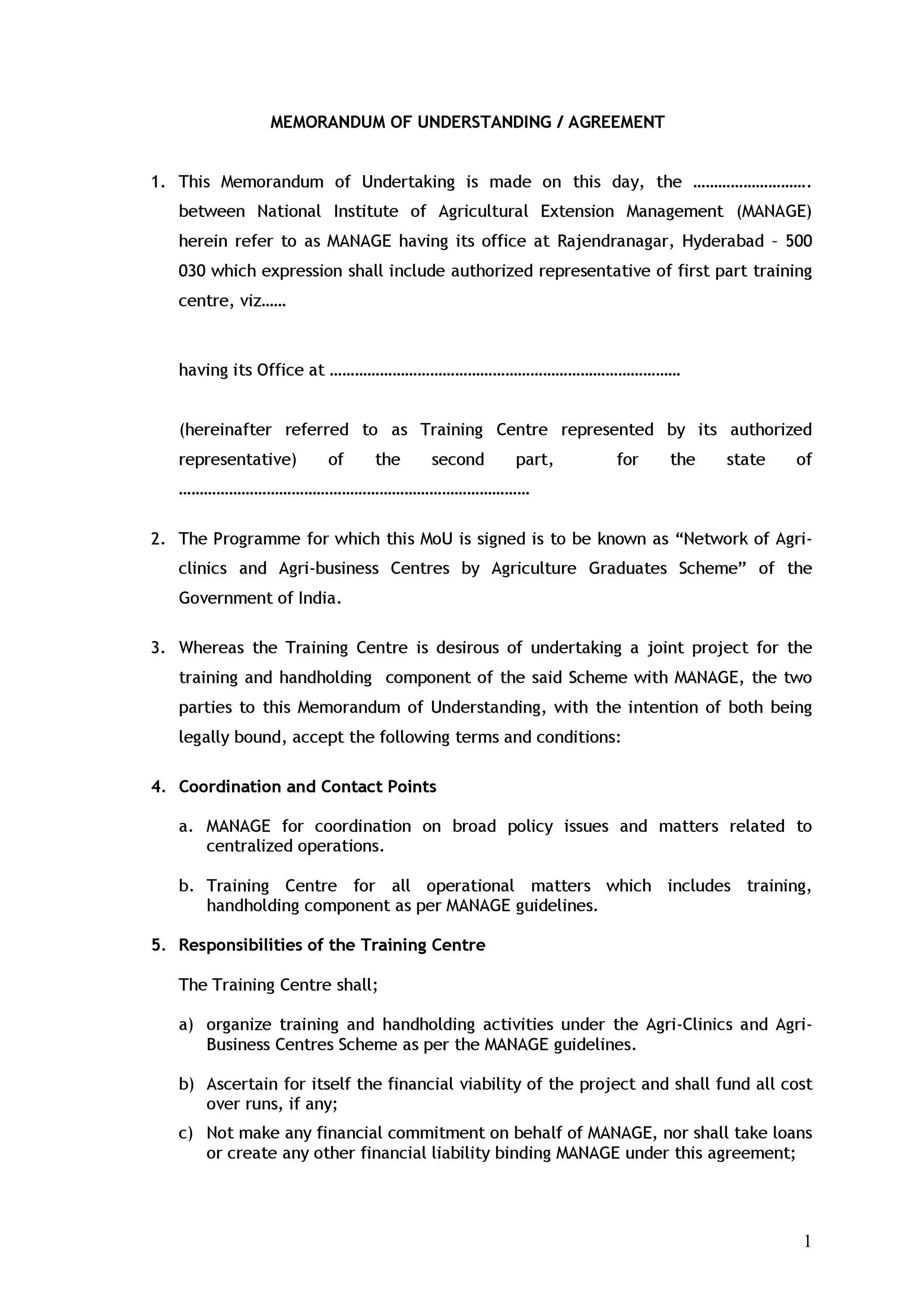 Free Memorandum of Understanding Template 41