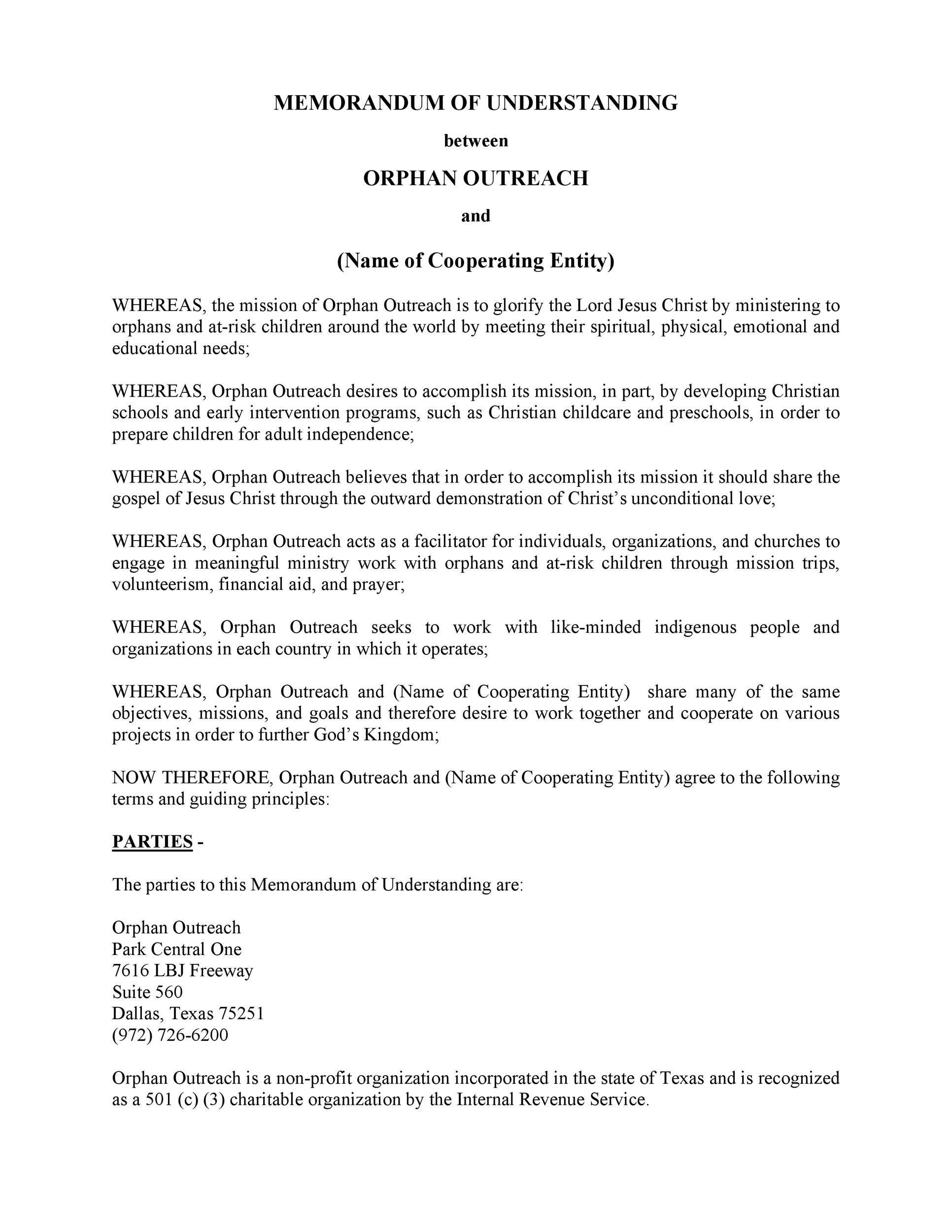 Free Memorandum of Understanding Template 43