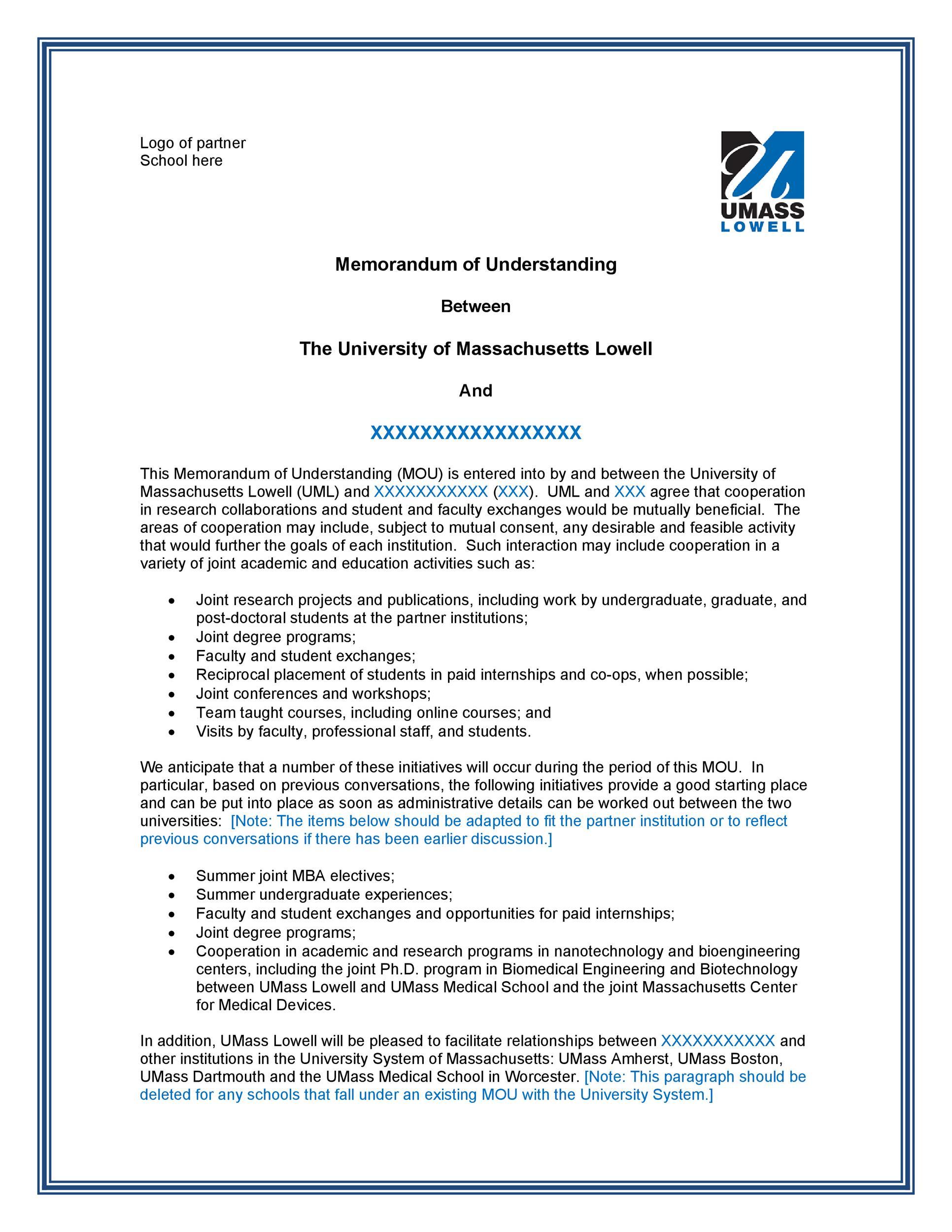 Free Memorandum of Understanding Template 45