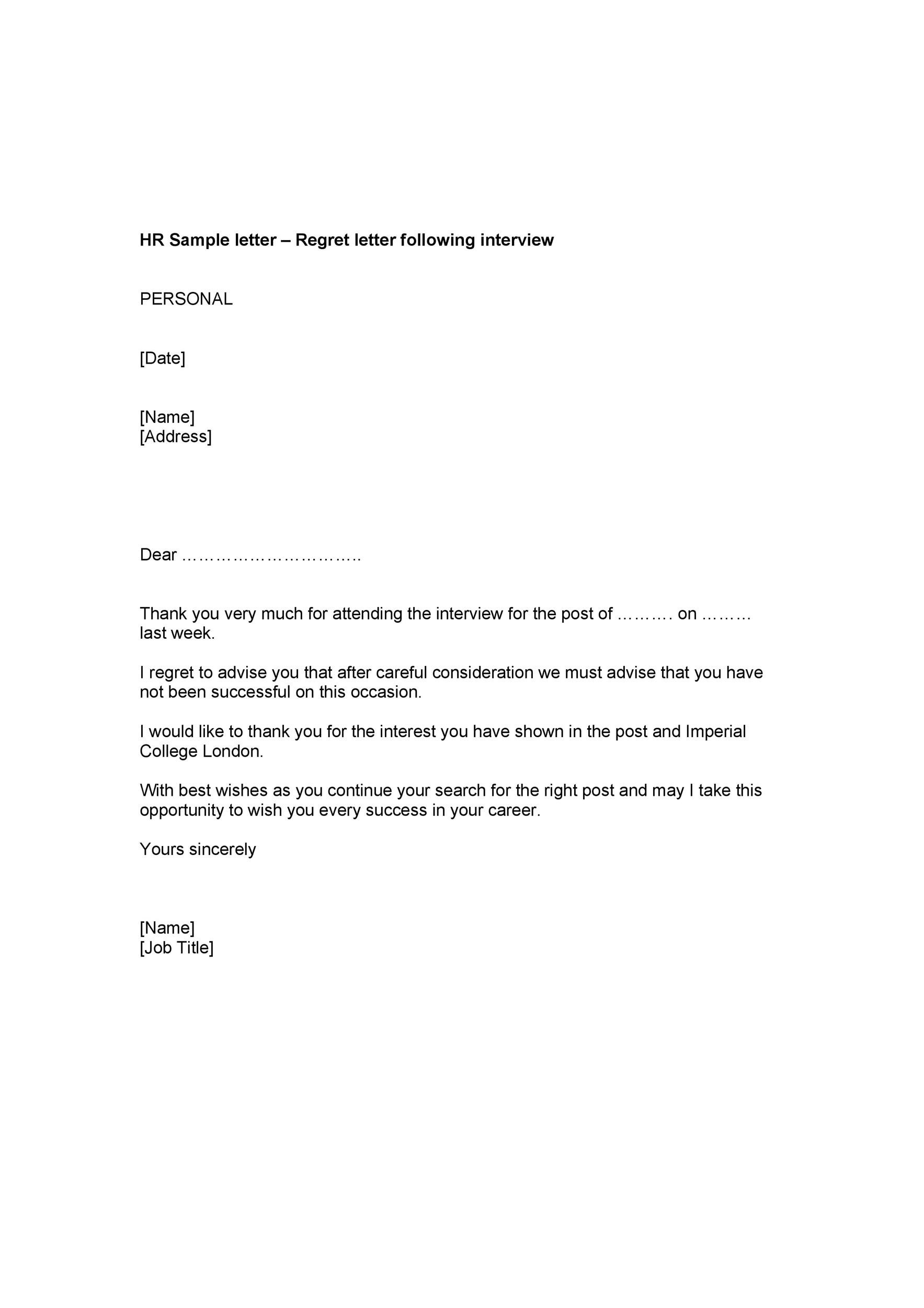 Letter To Reject A Job Offer from templatelab.com