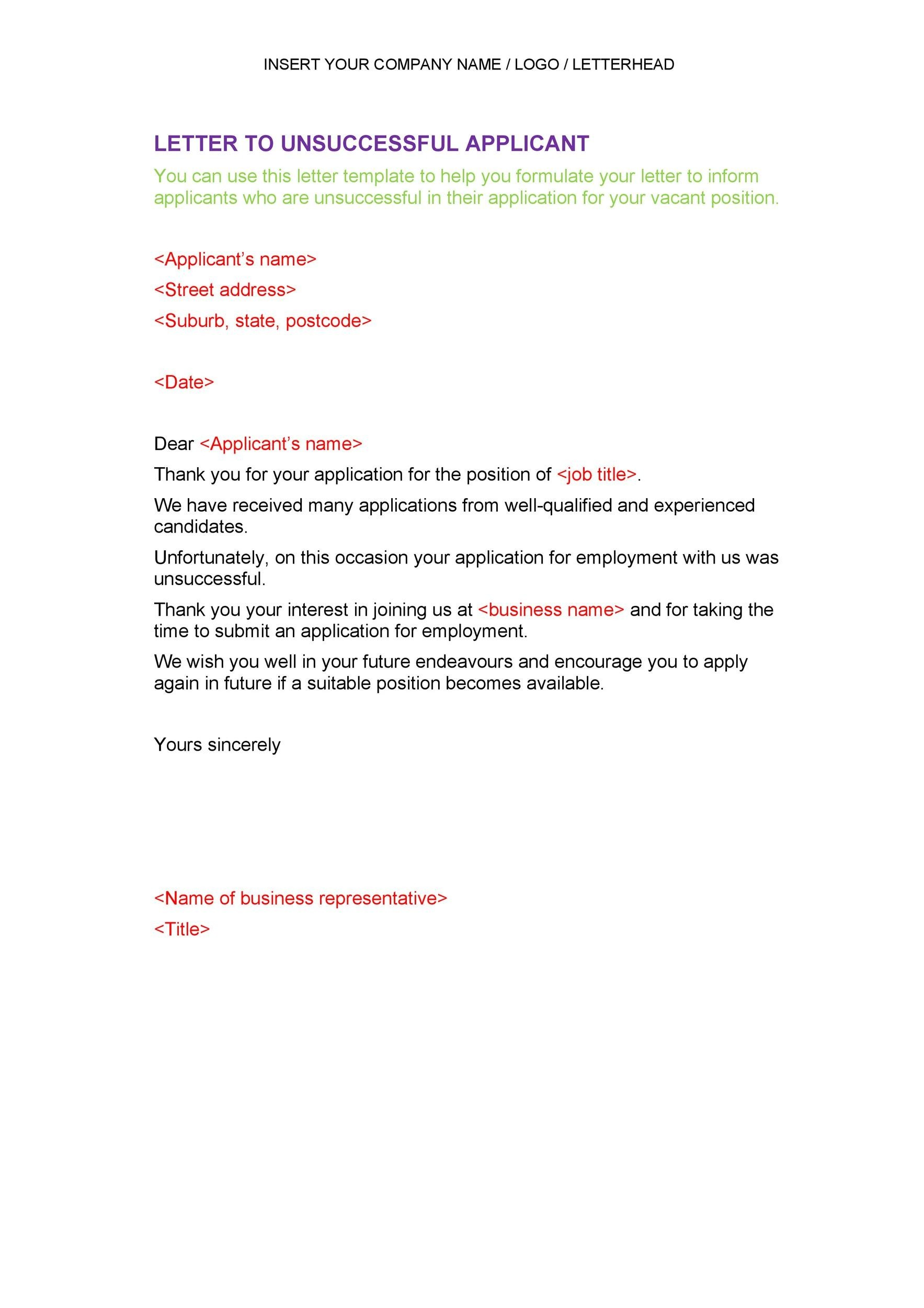 Free Rejection Letter 02