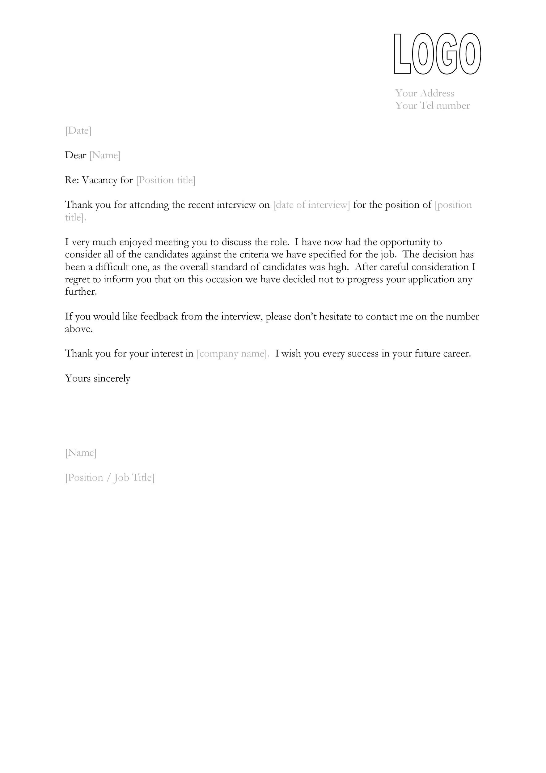 Free Rejection Letter 03