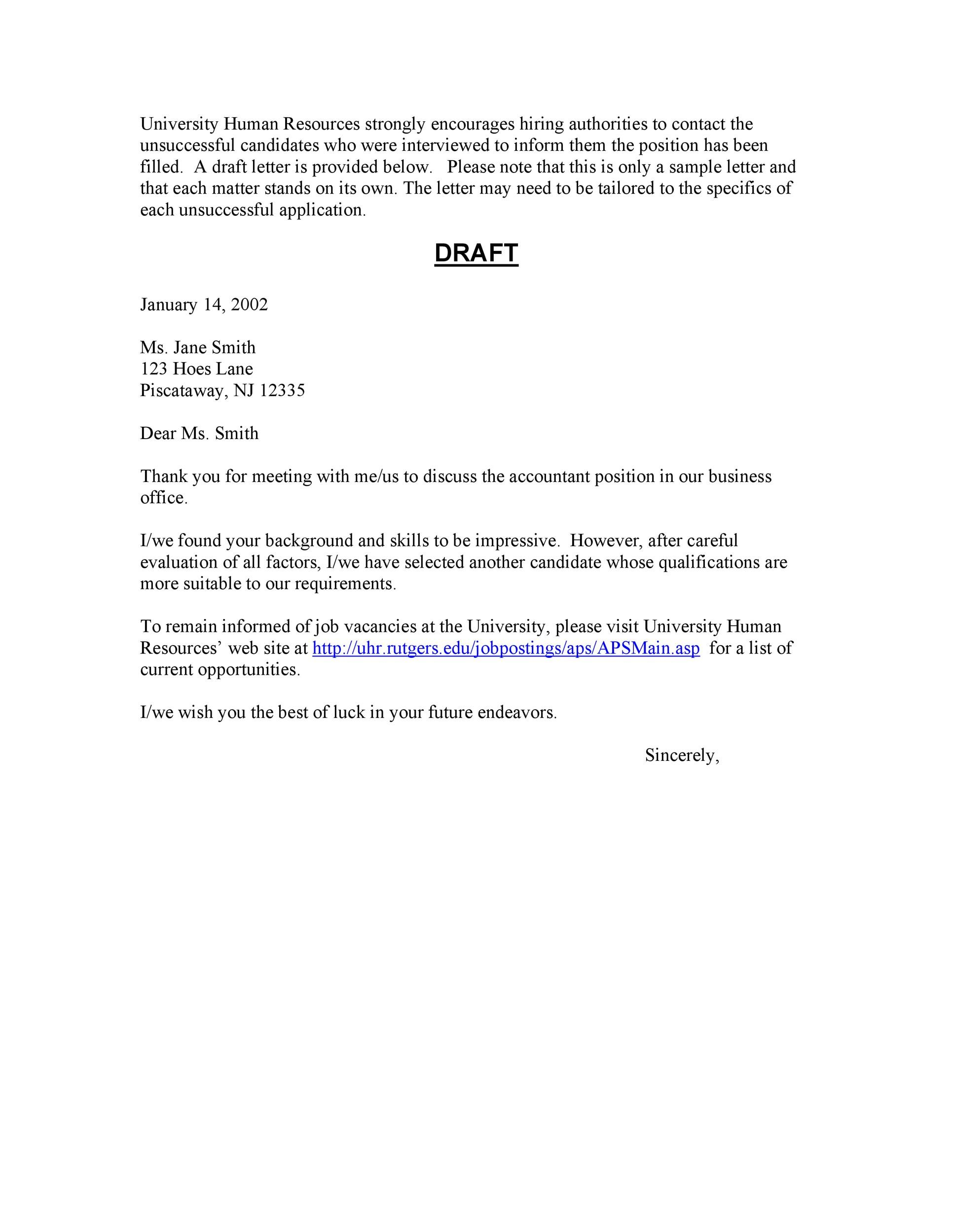 Free Rejection Letter 06