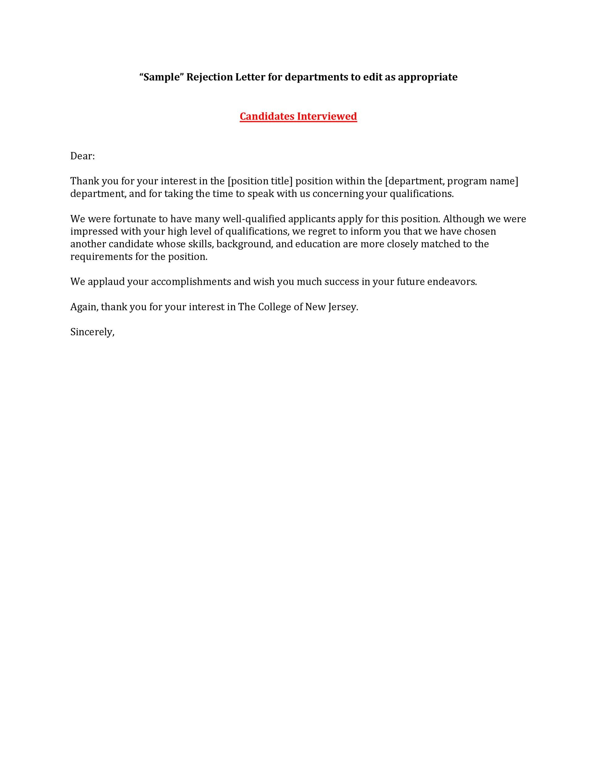 Free Rejection Letter 07