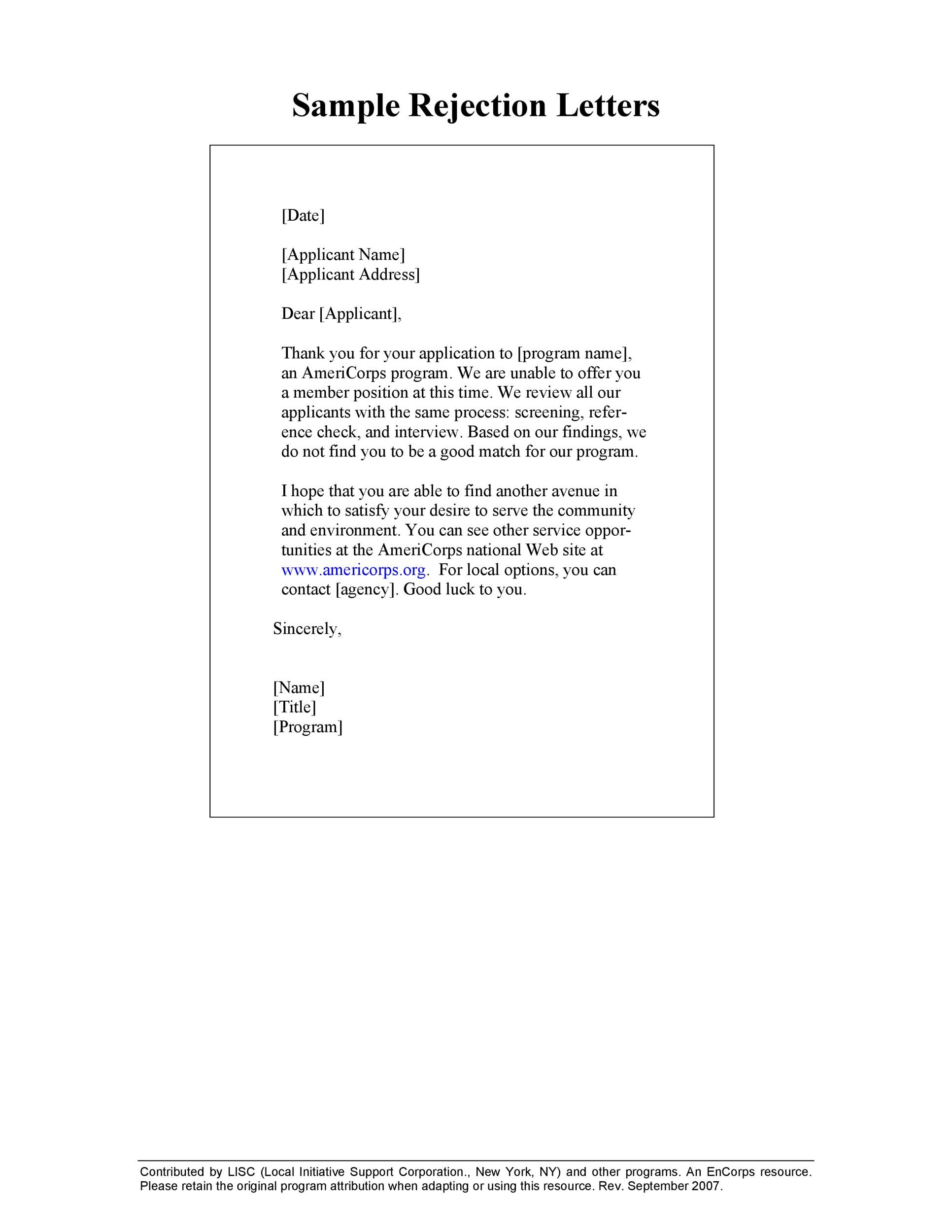 Free Rejection Letter 08