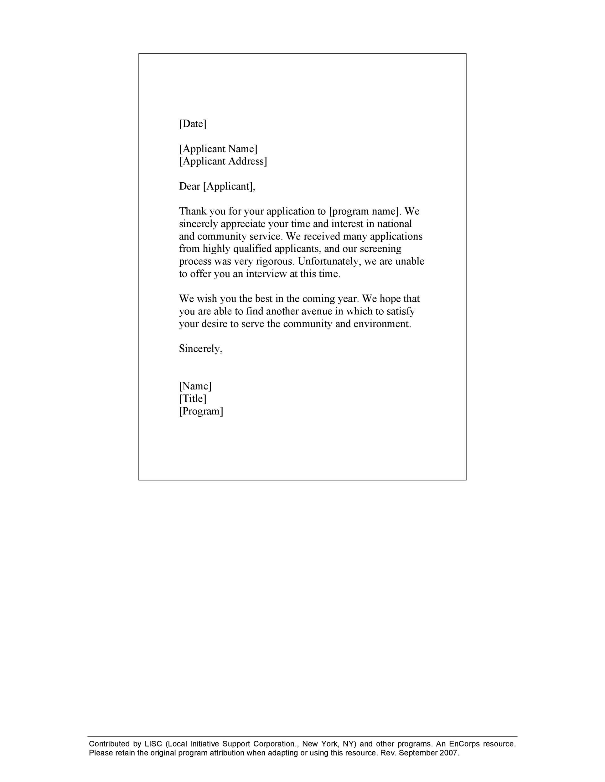 Free Rejection Letter 09