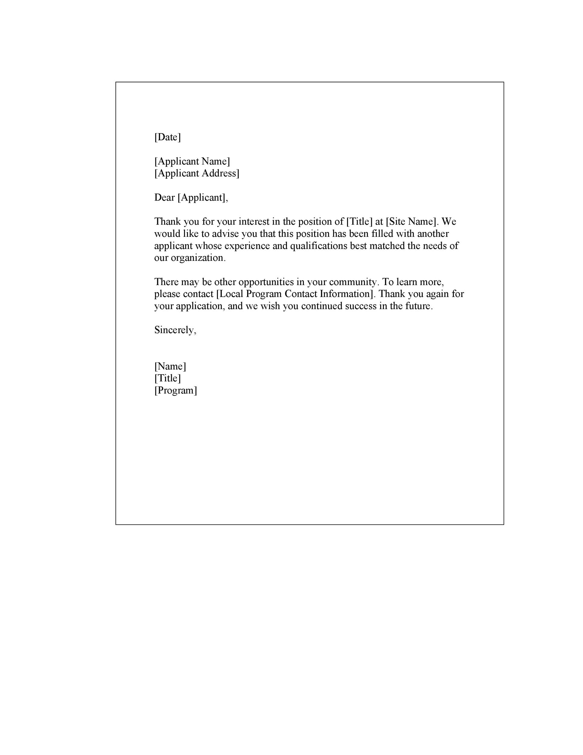 Free Rejection Letter 10