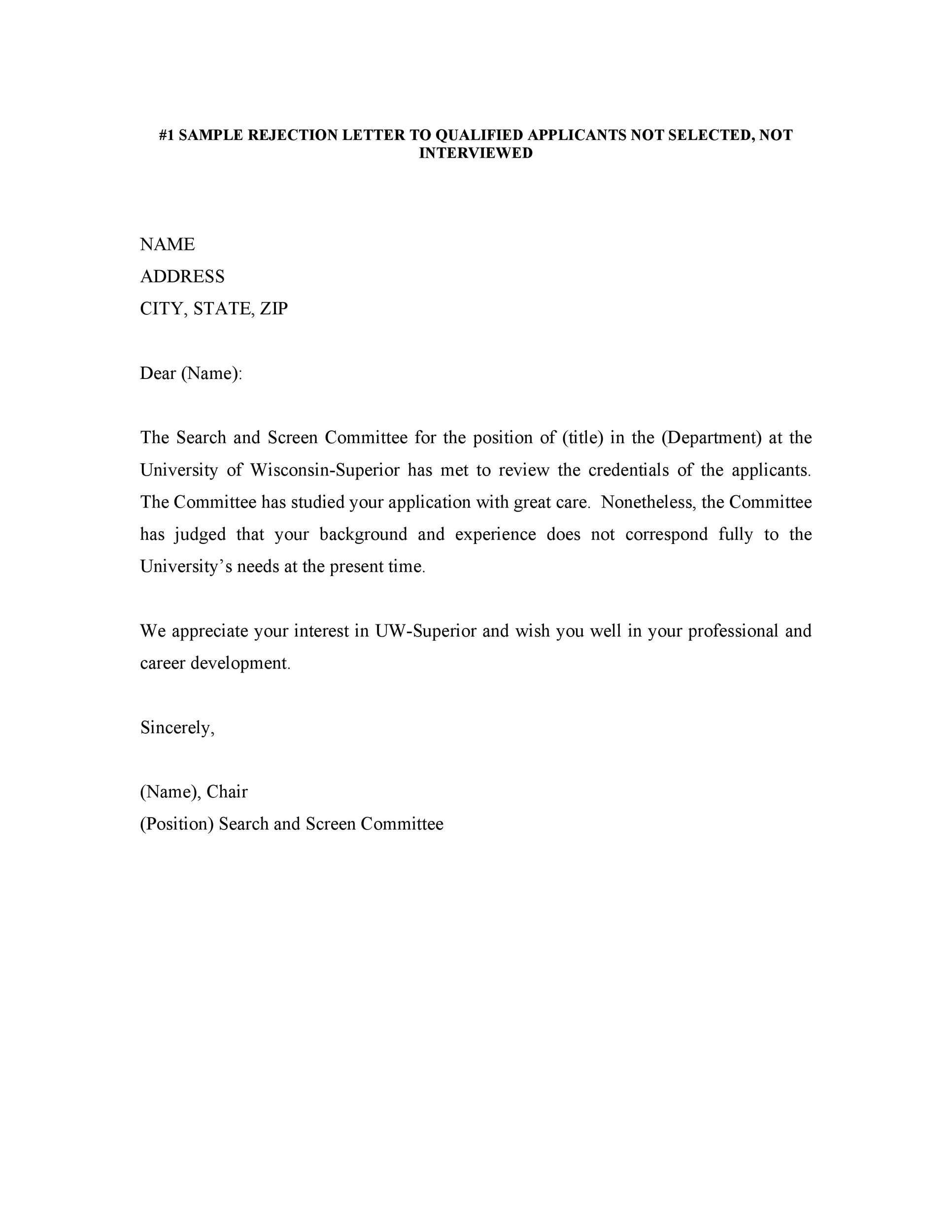 Sample Rejection Letter For Job Applicant from templatelab.com