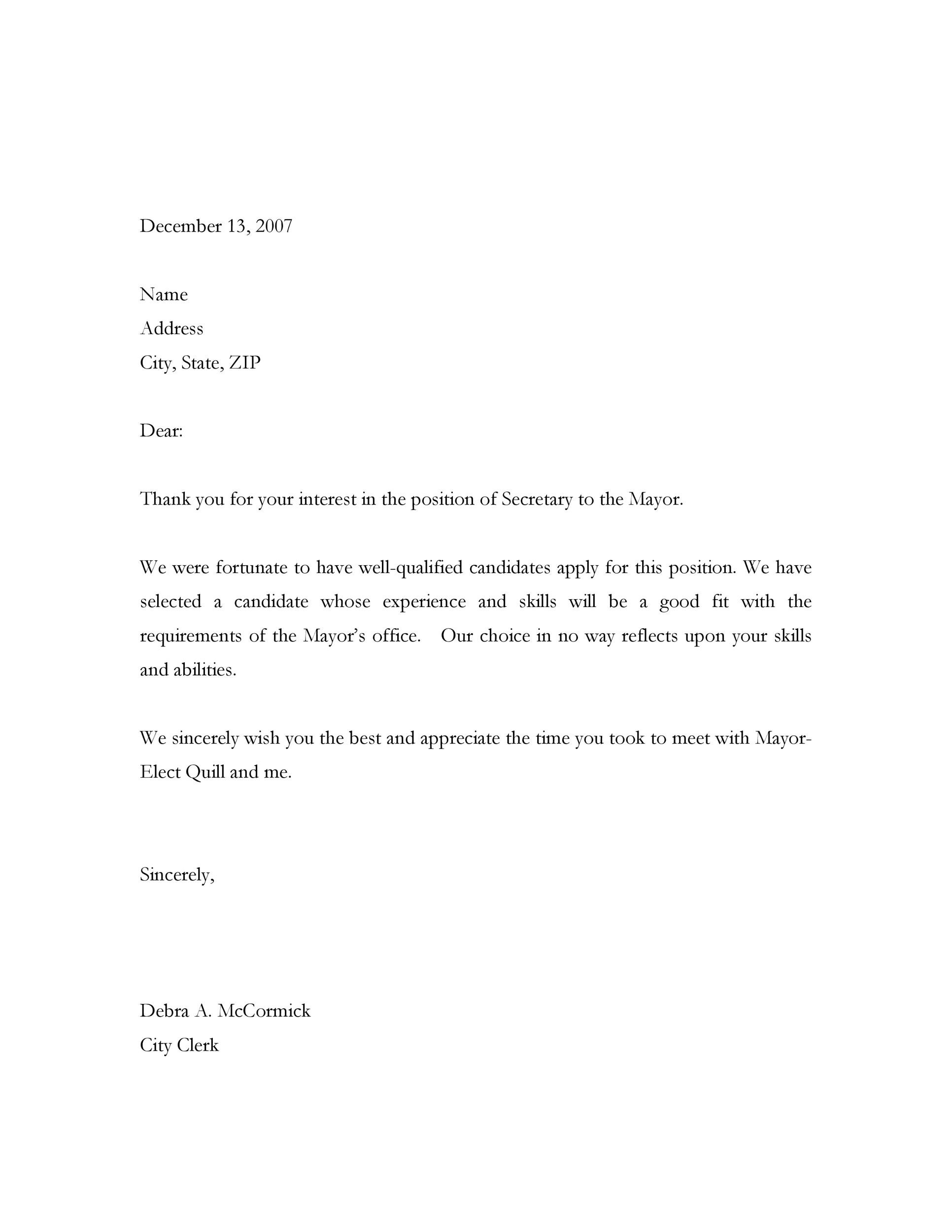 Free Rejection Letter 21