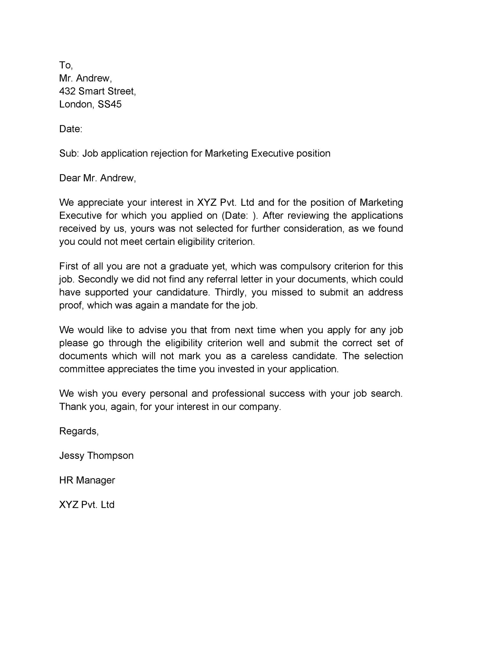 Free Rejection Letter 22