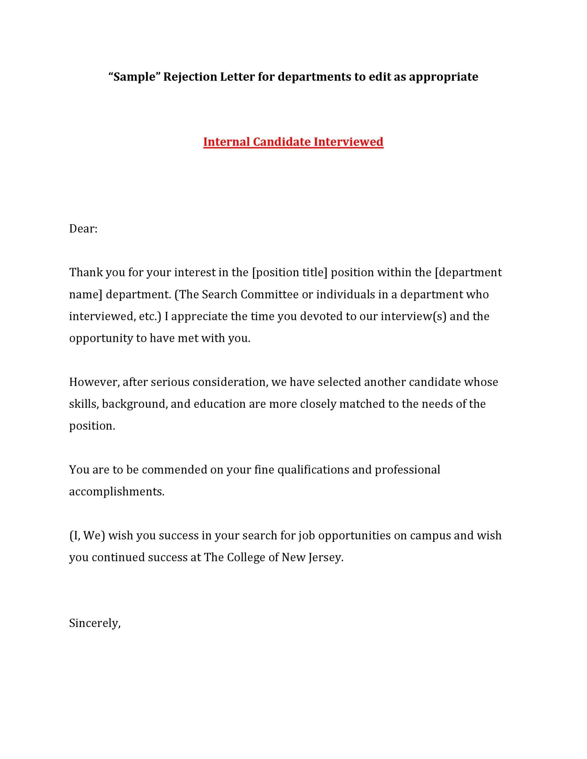 Free Rejection Letter 23