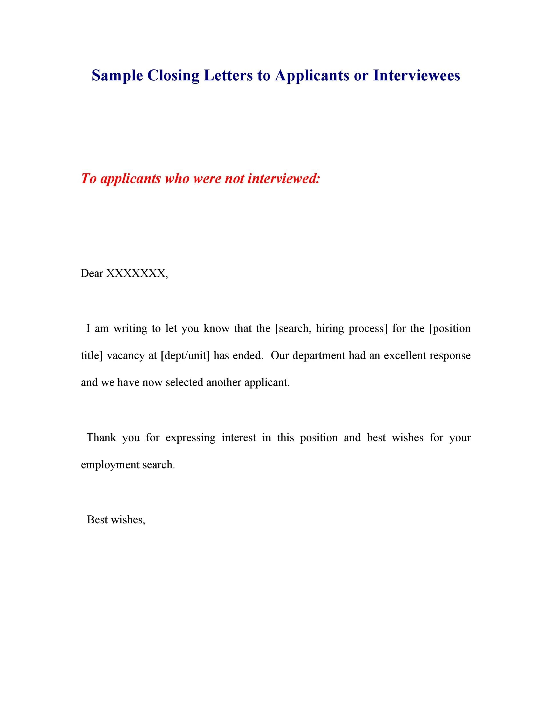 Free Rejection Letter 26