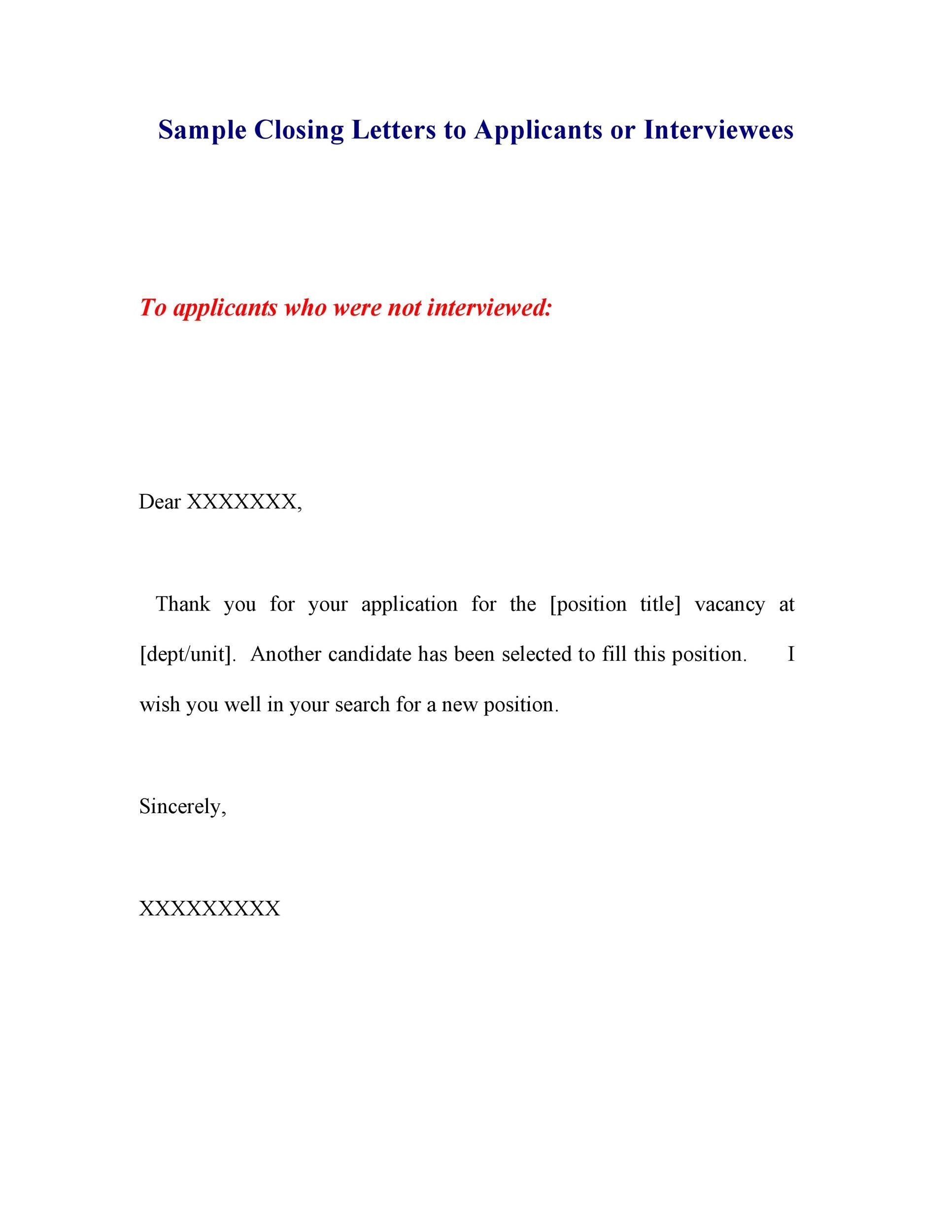 Free Rejection Letter 27