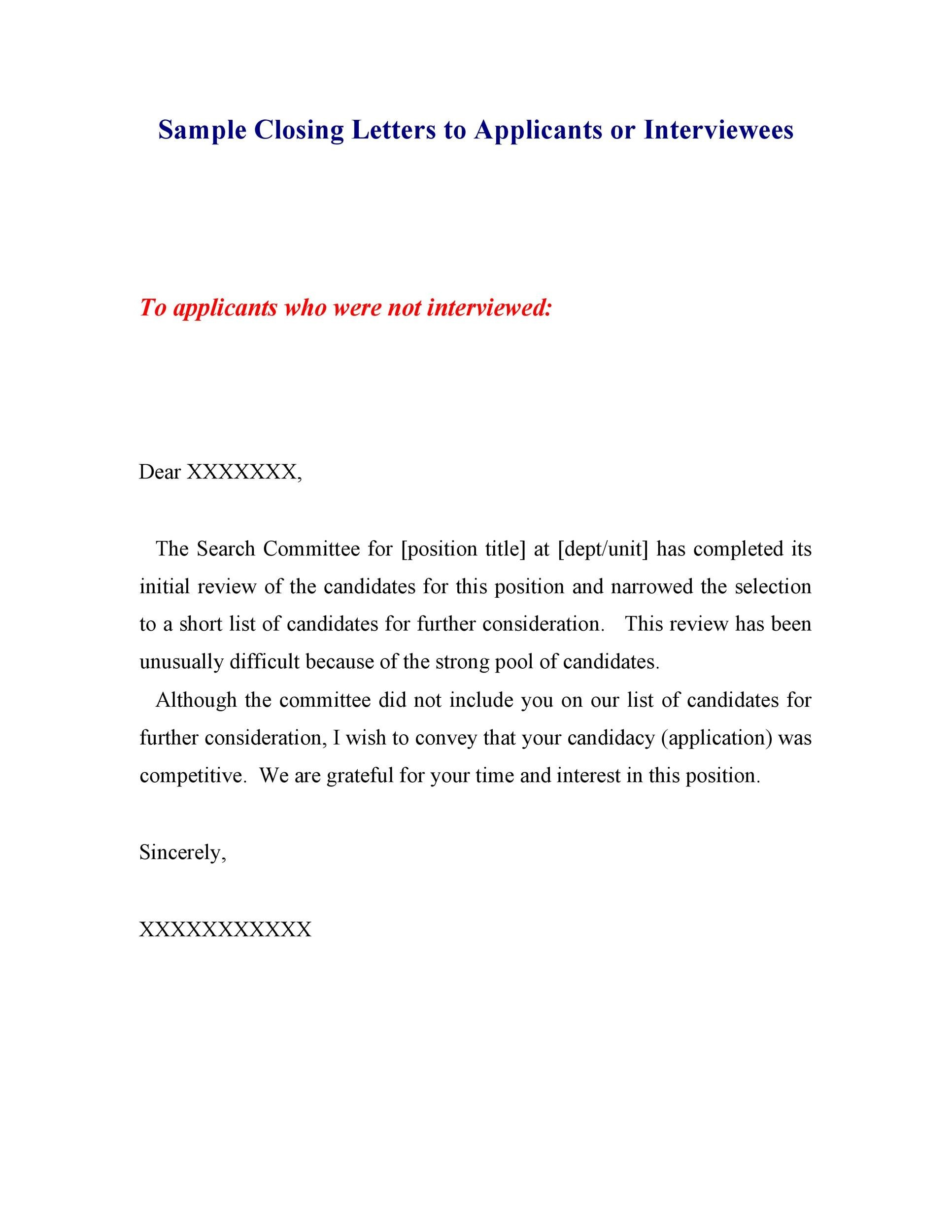 Free Rejection Letter 28