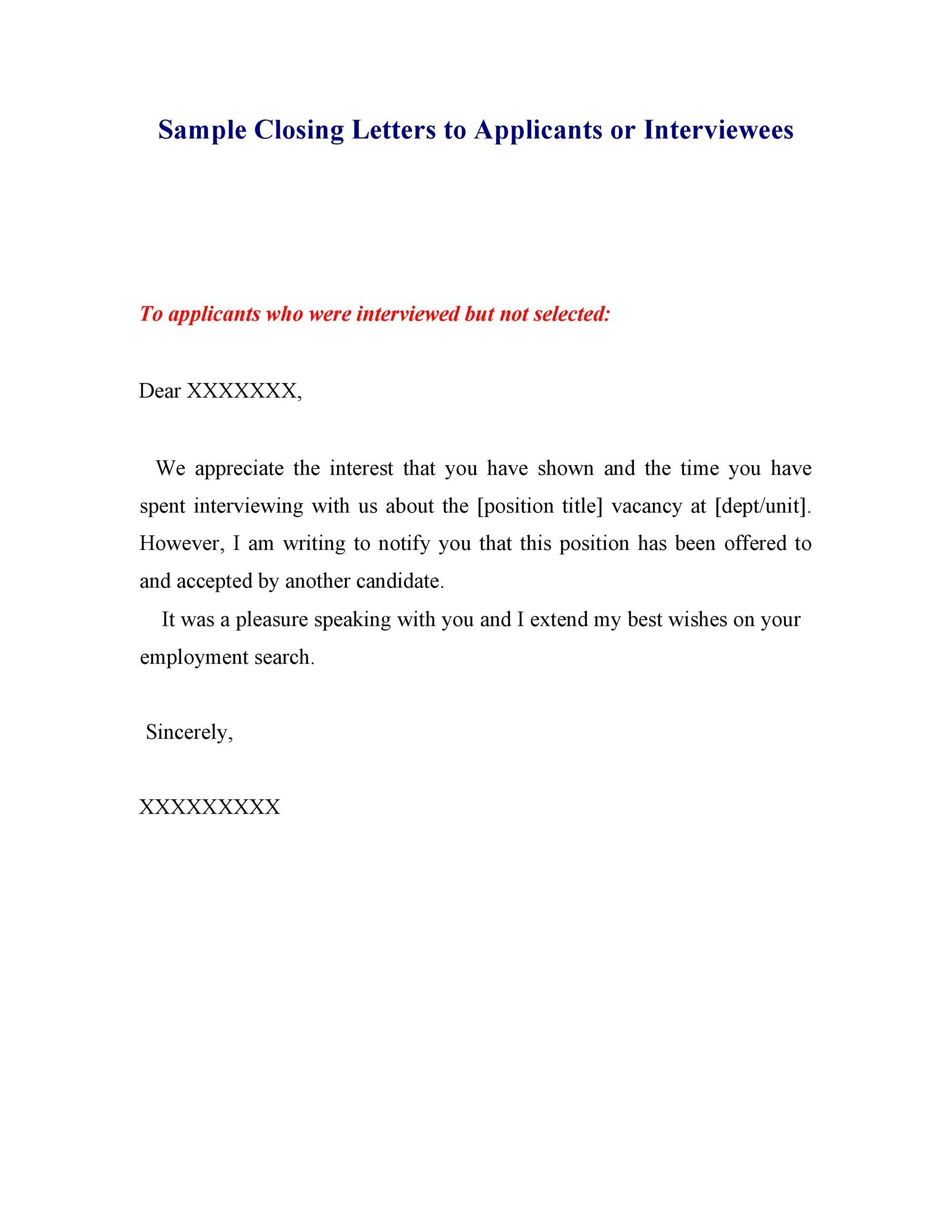 Rejection letter or email to applicants - Letter Sample