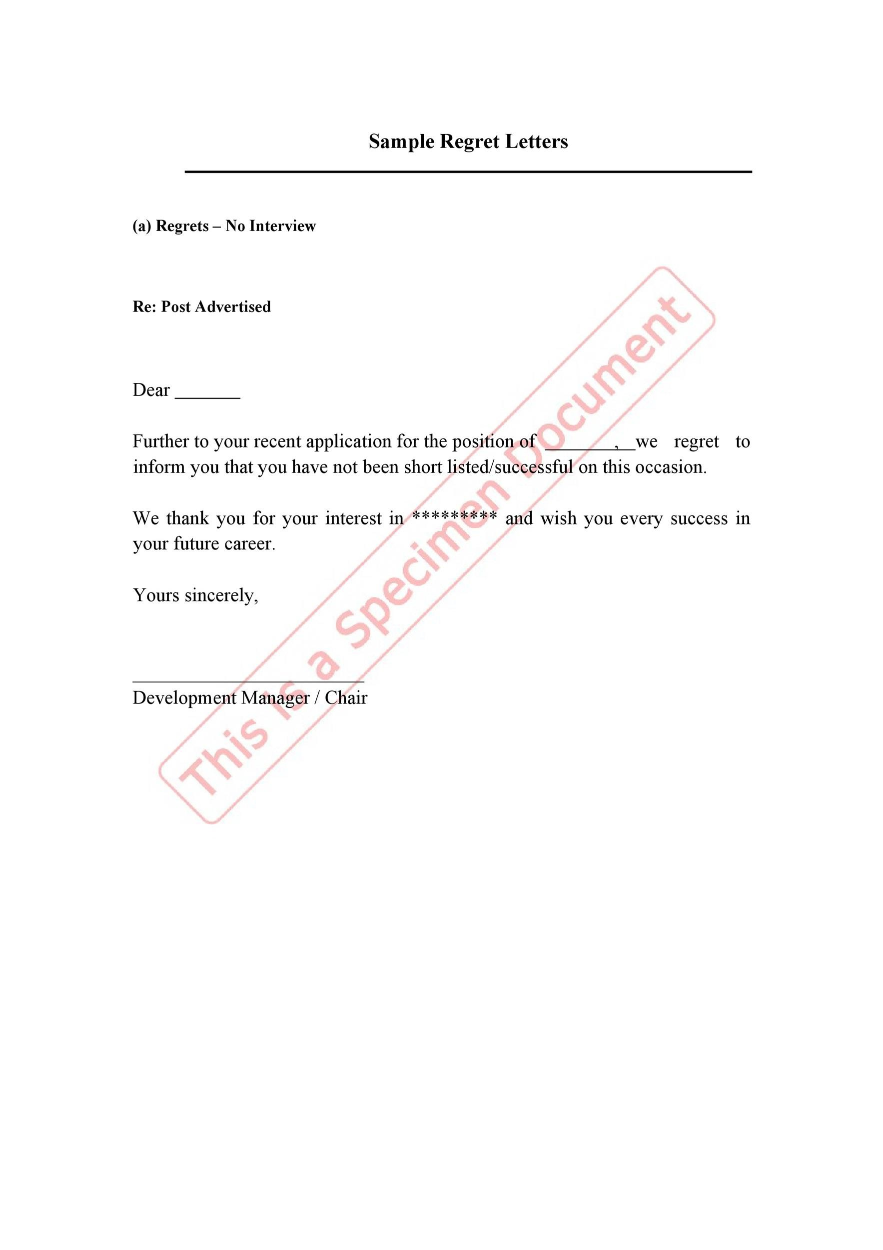 Free Rejection Letter 31
