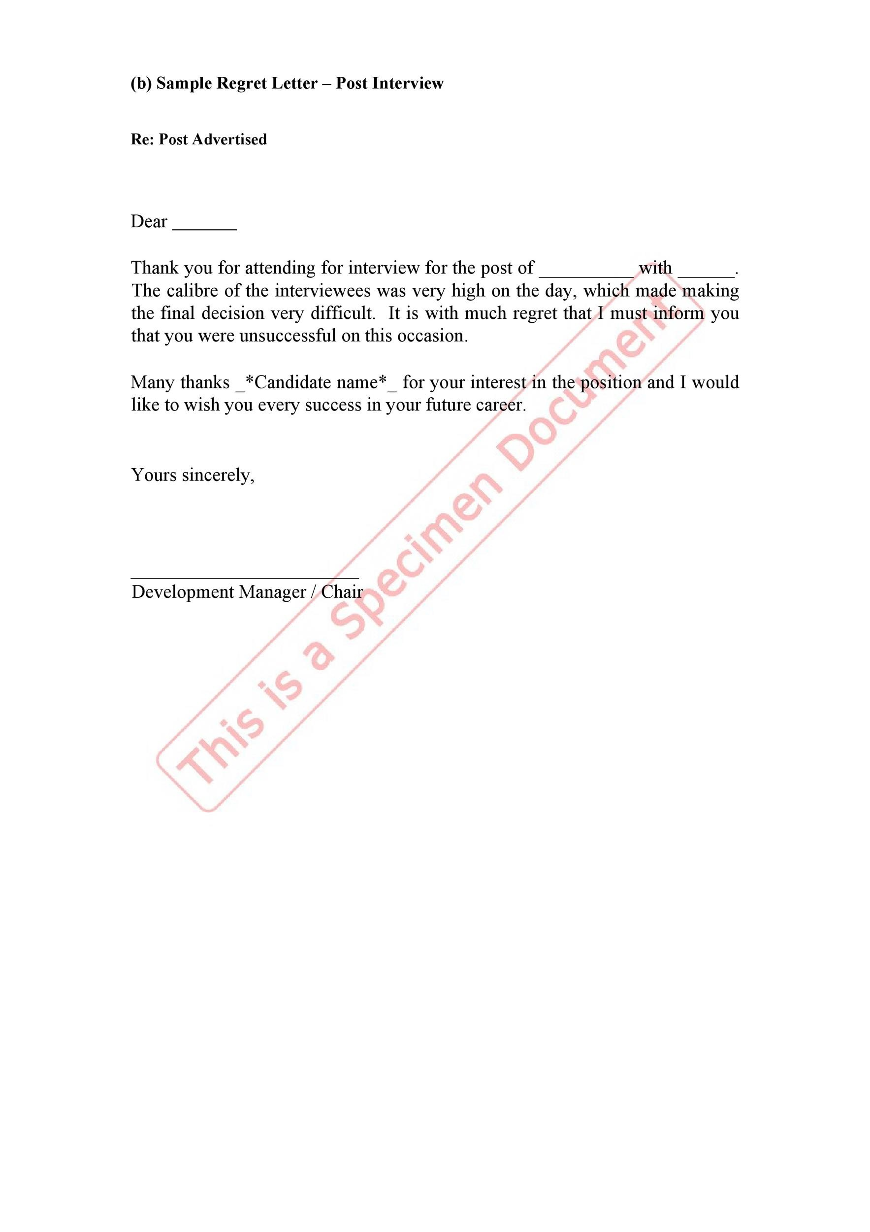 Free Rejection Letter 32