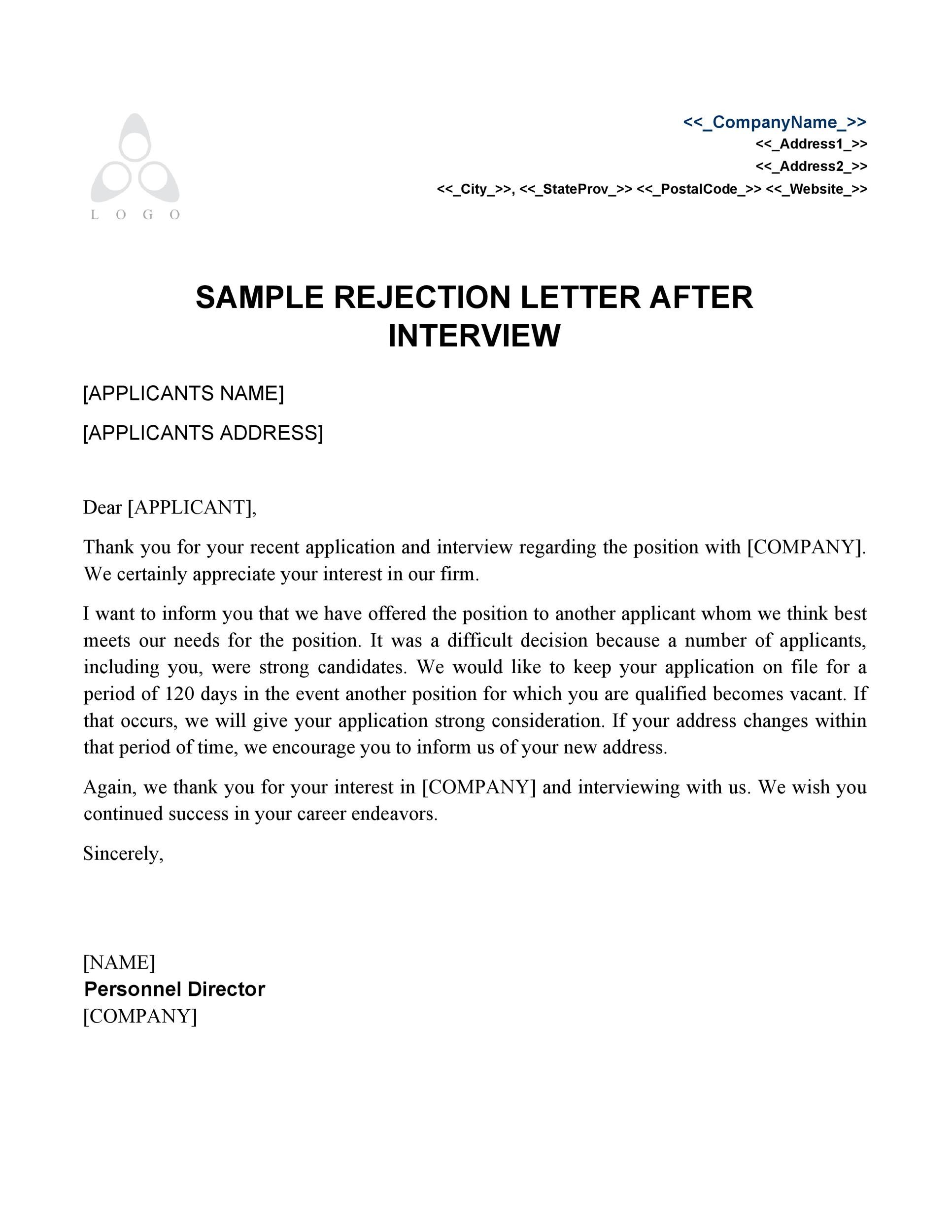 Rejected Interview Thank You Letter from templatelab.com