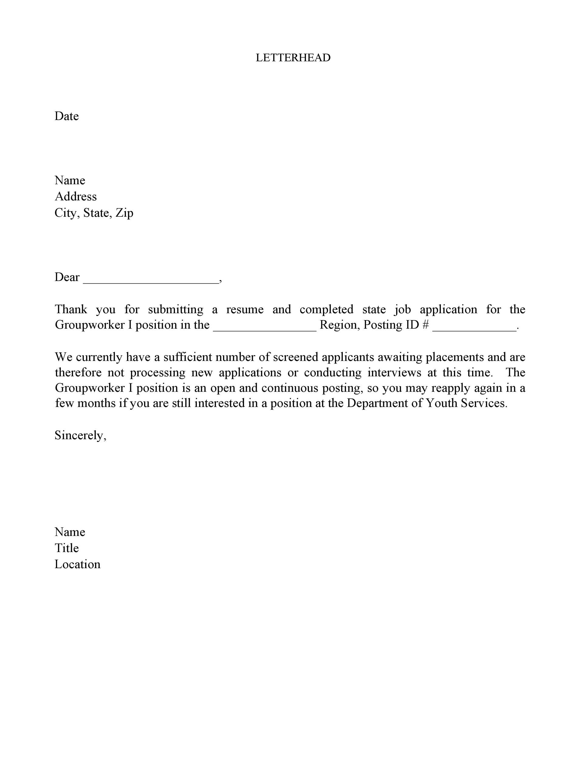 Free Rejection Letter 35