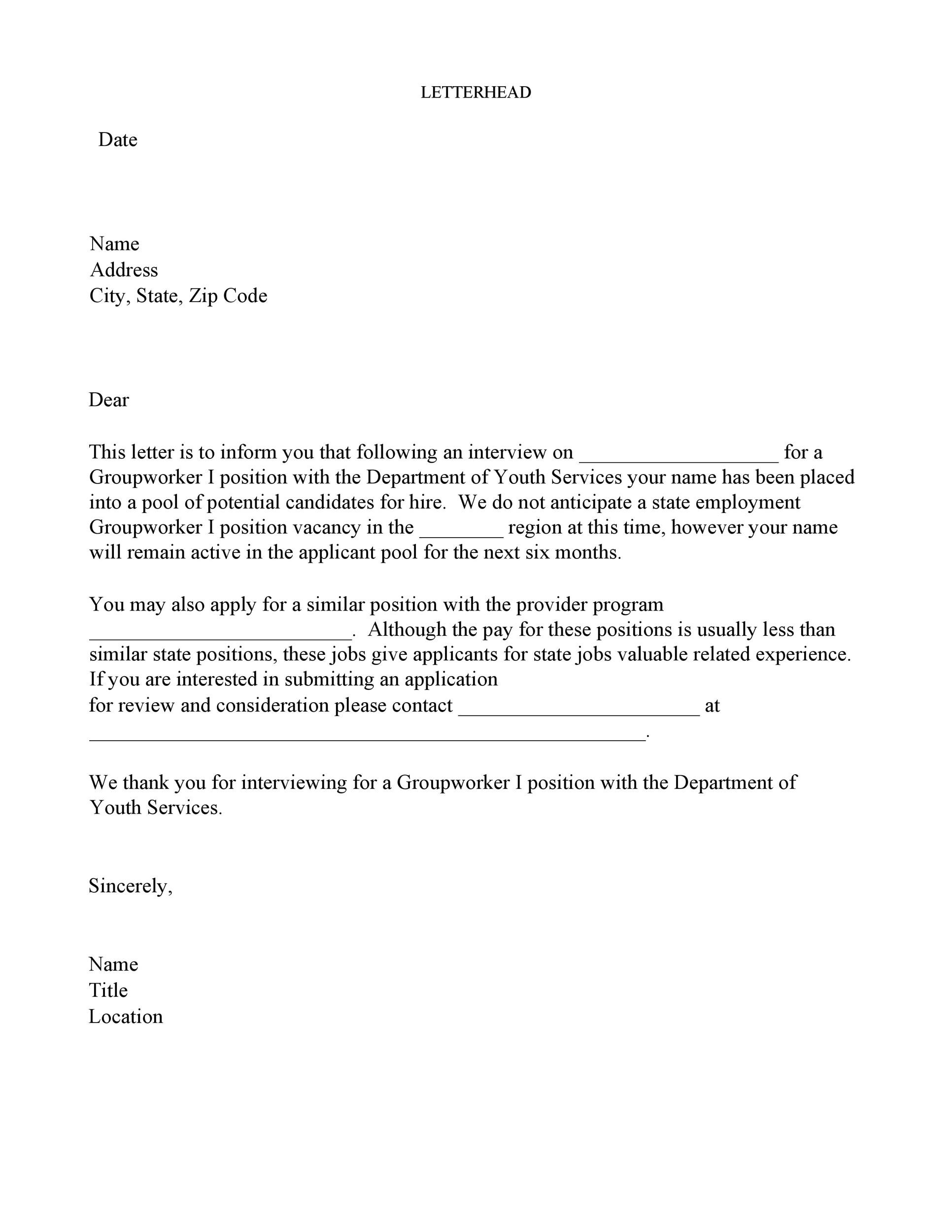 Applicant Rejection Letter After Interview from templatelab.com