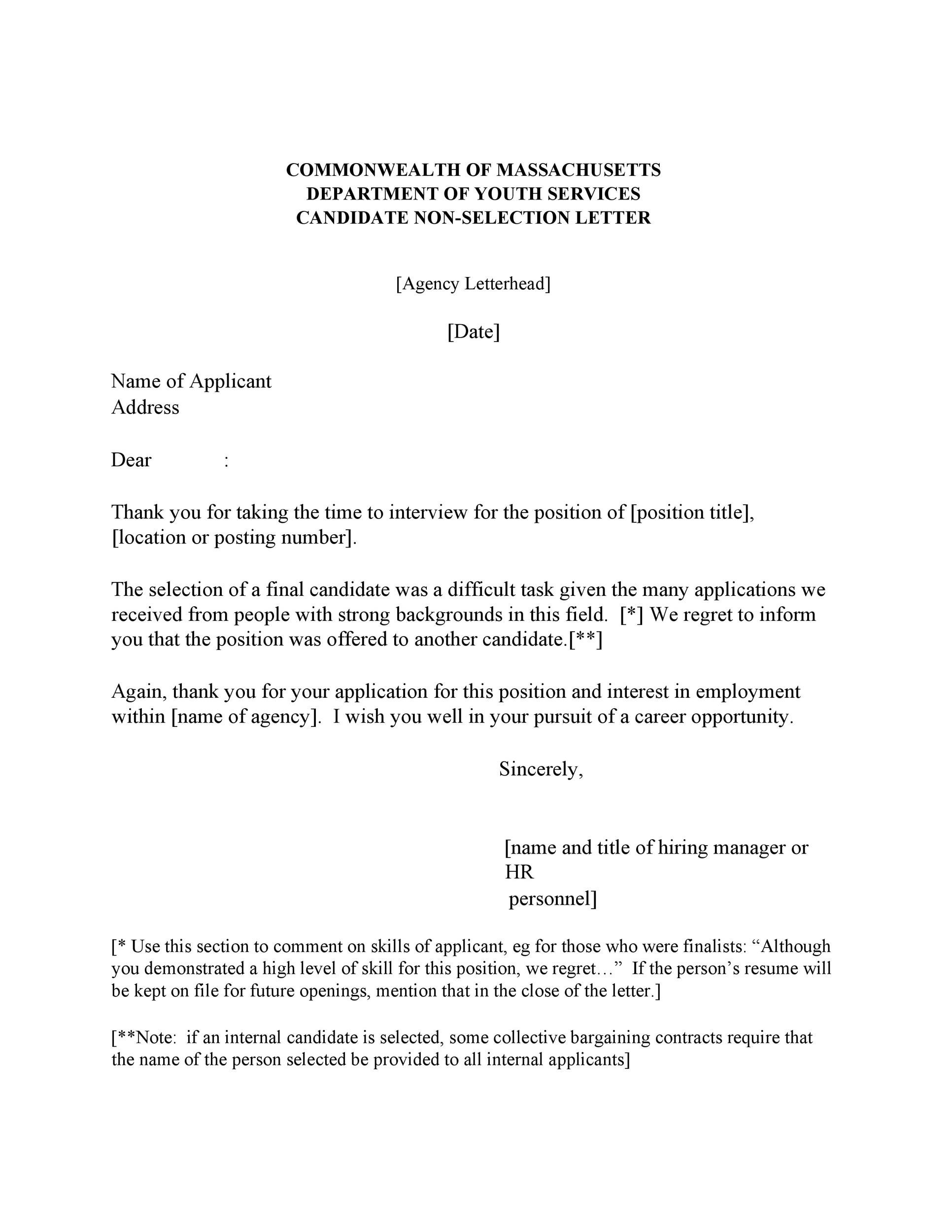 No Interview Rejection Letter from templatelab.com