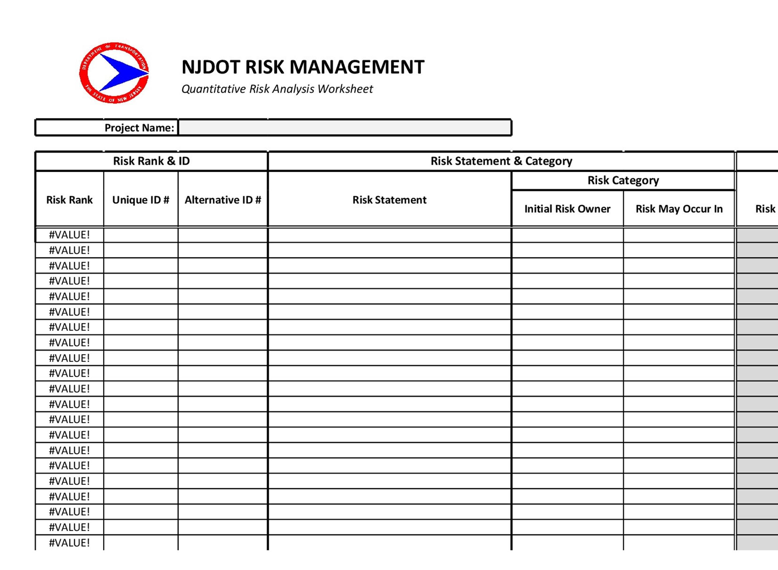 Free Risk Analysis Template 07