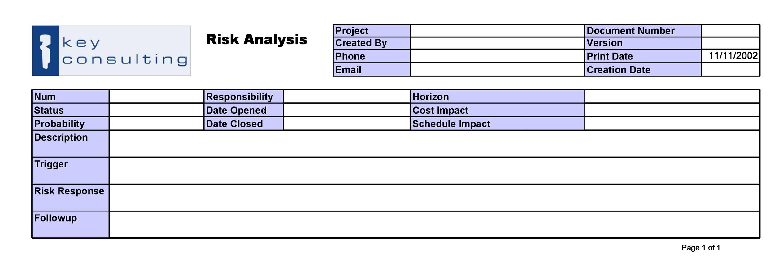 Free Risk Analysis Template 09