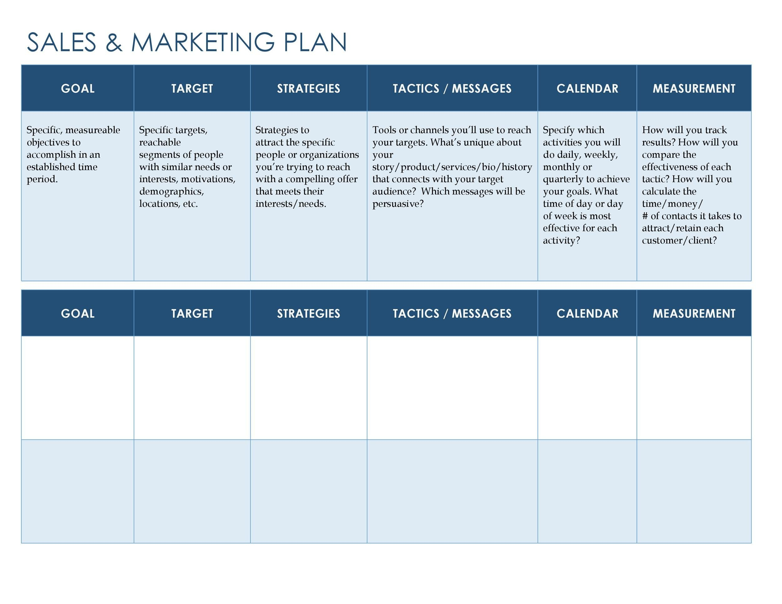 Free Sales Plan Template 02