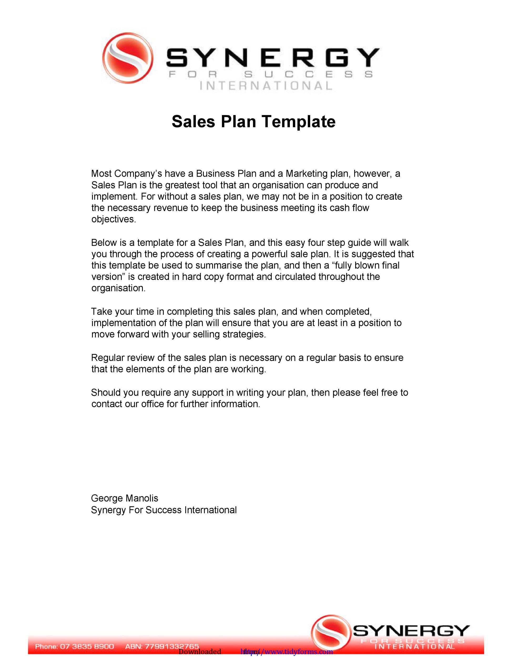 sales plan template free download