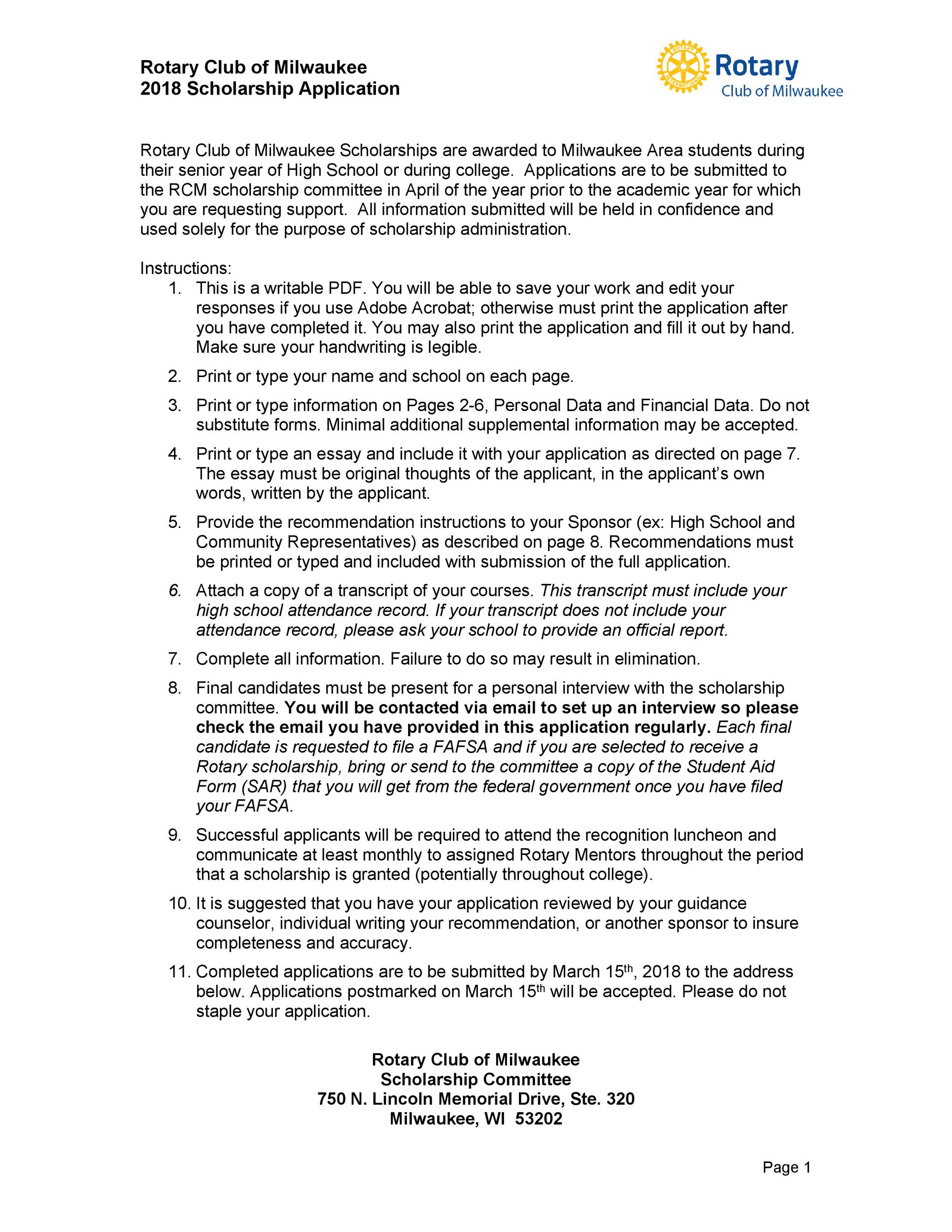 Free Scholarship Application Template 03