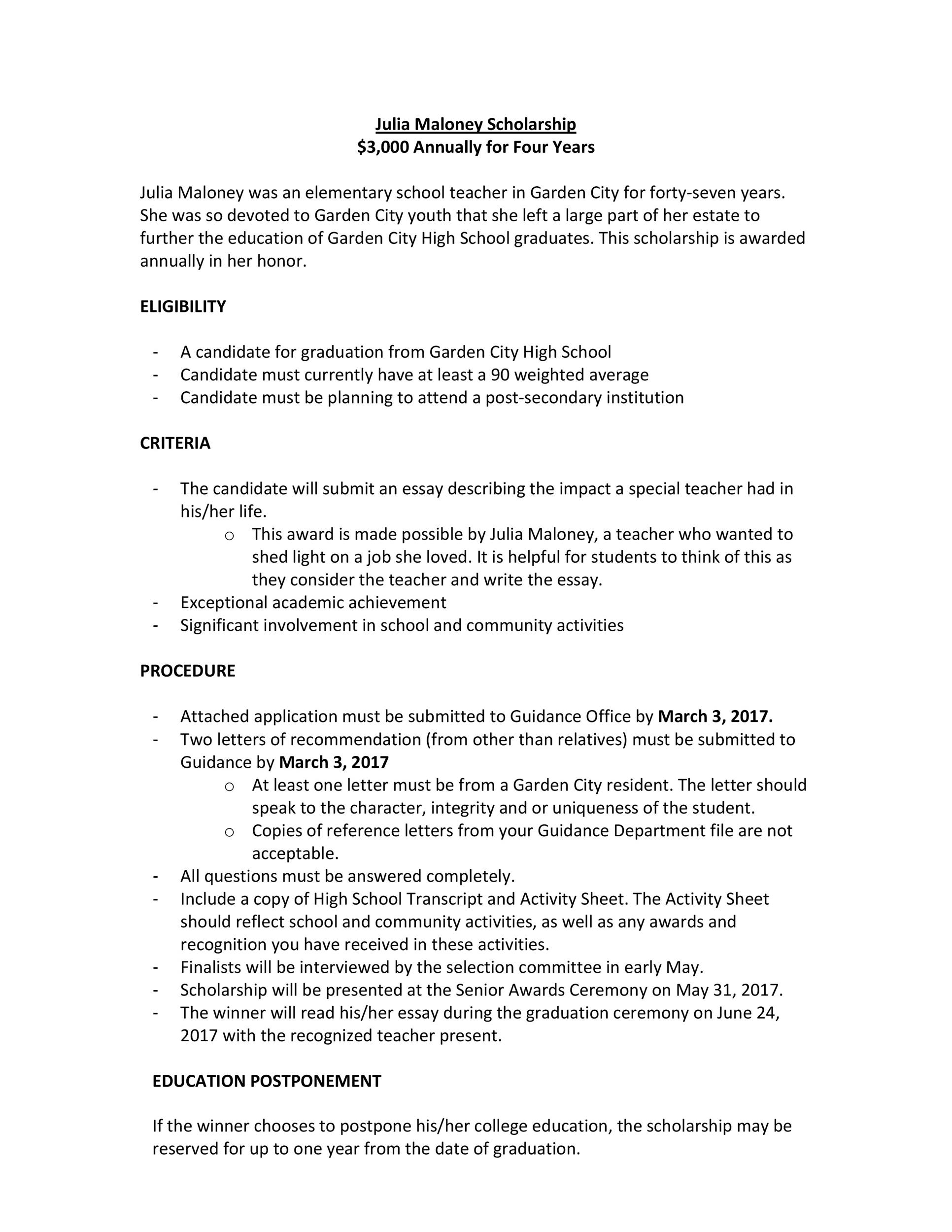 Free Scholarship Application Template 07