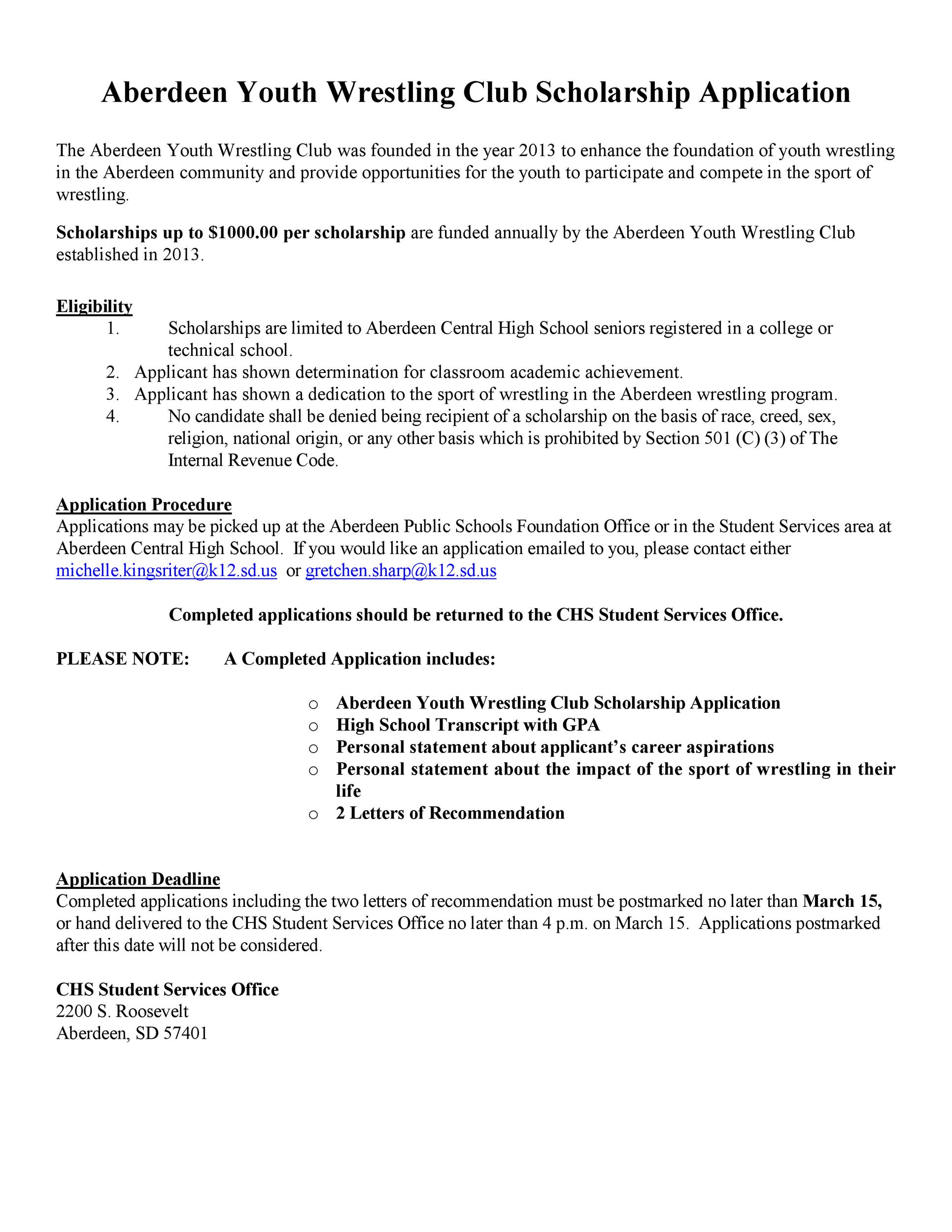 Free Scholarship Application Template 08
