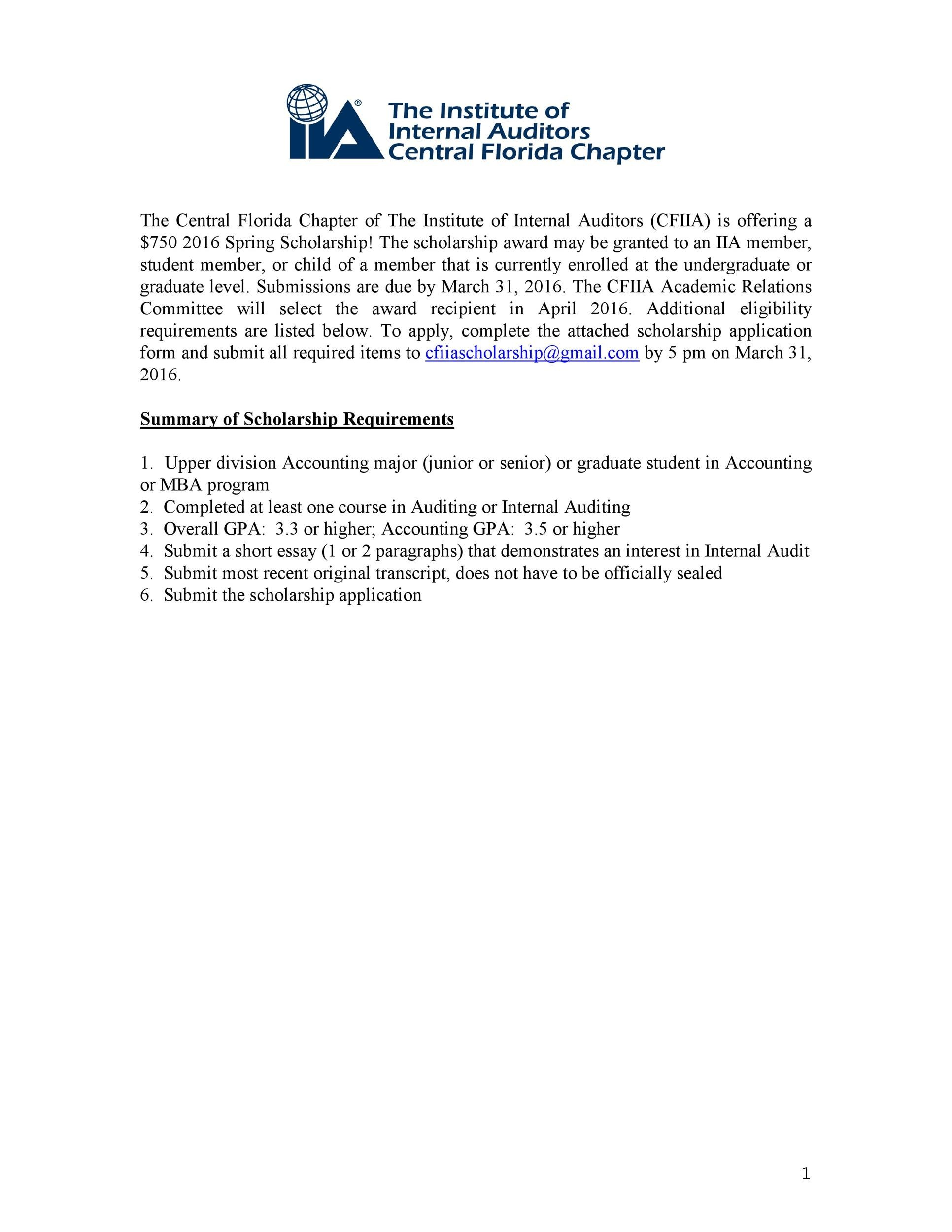 Free Scholarship Application Template 10