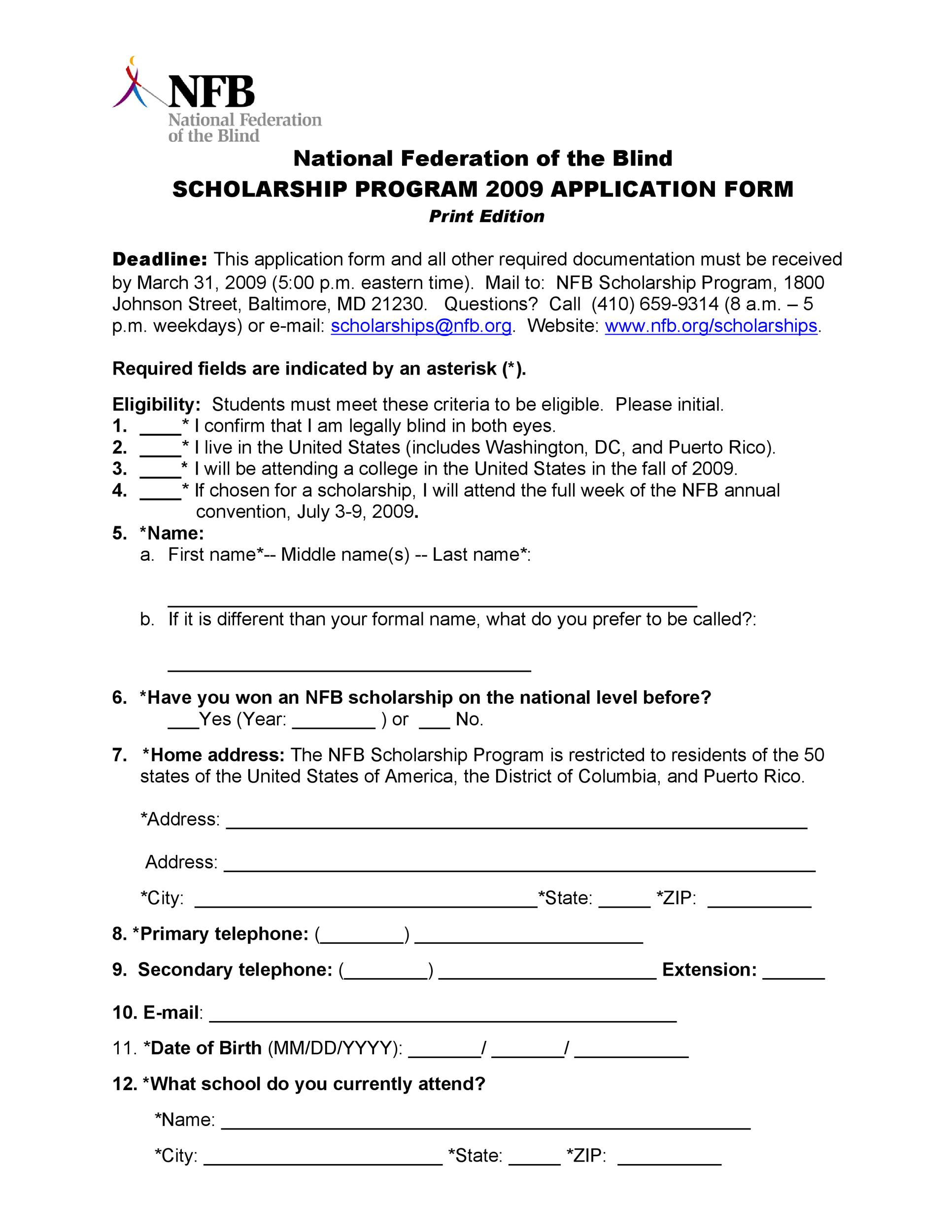 Free Scholarship Application Template 15