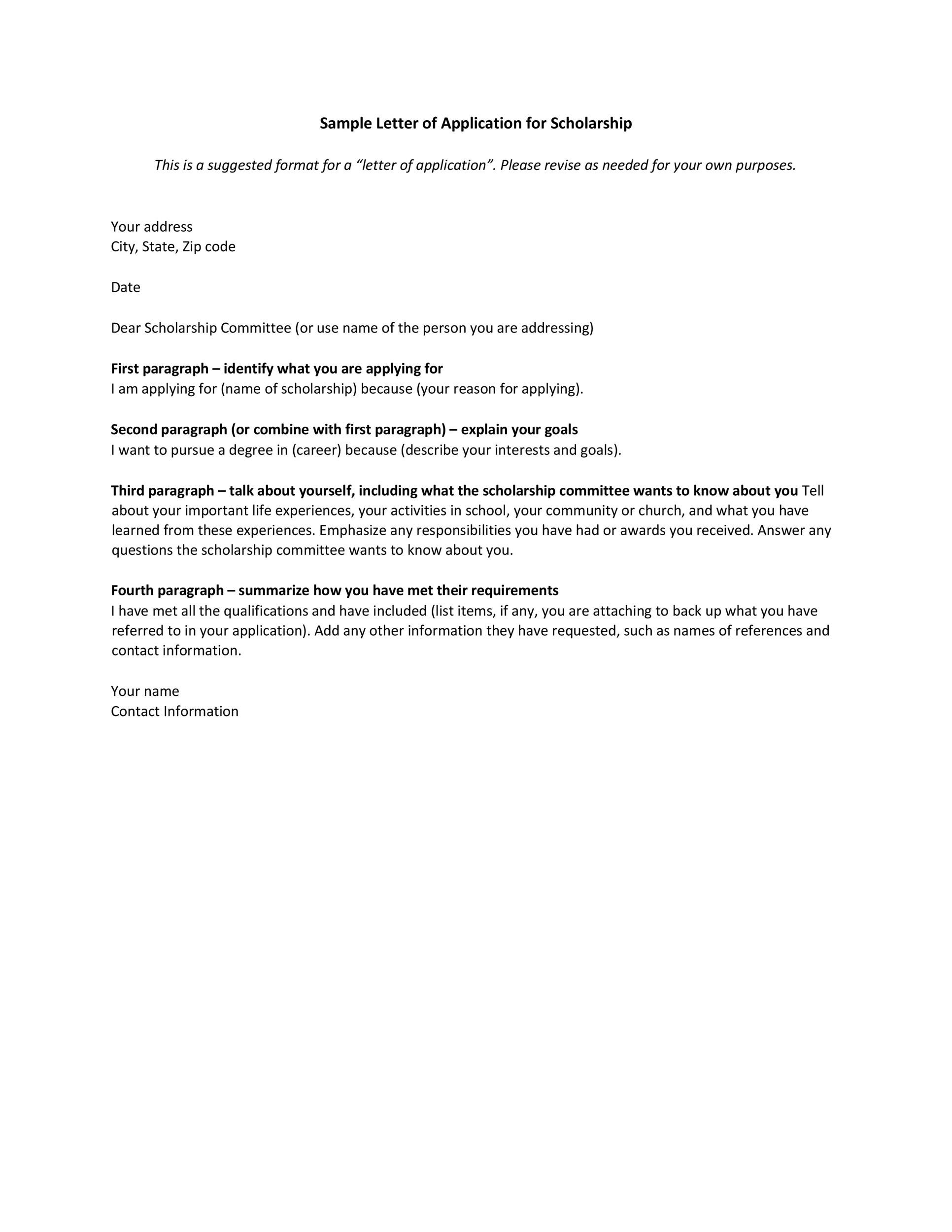 Free Scholarship Application Template 20
