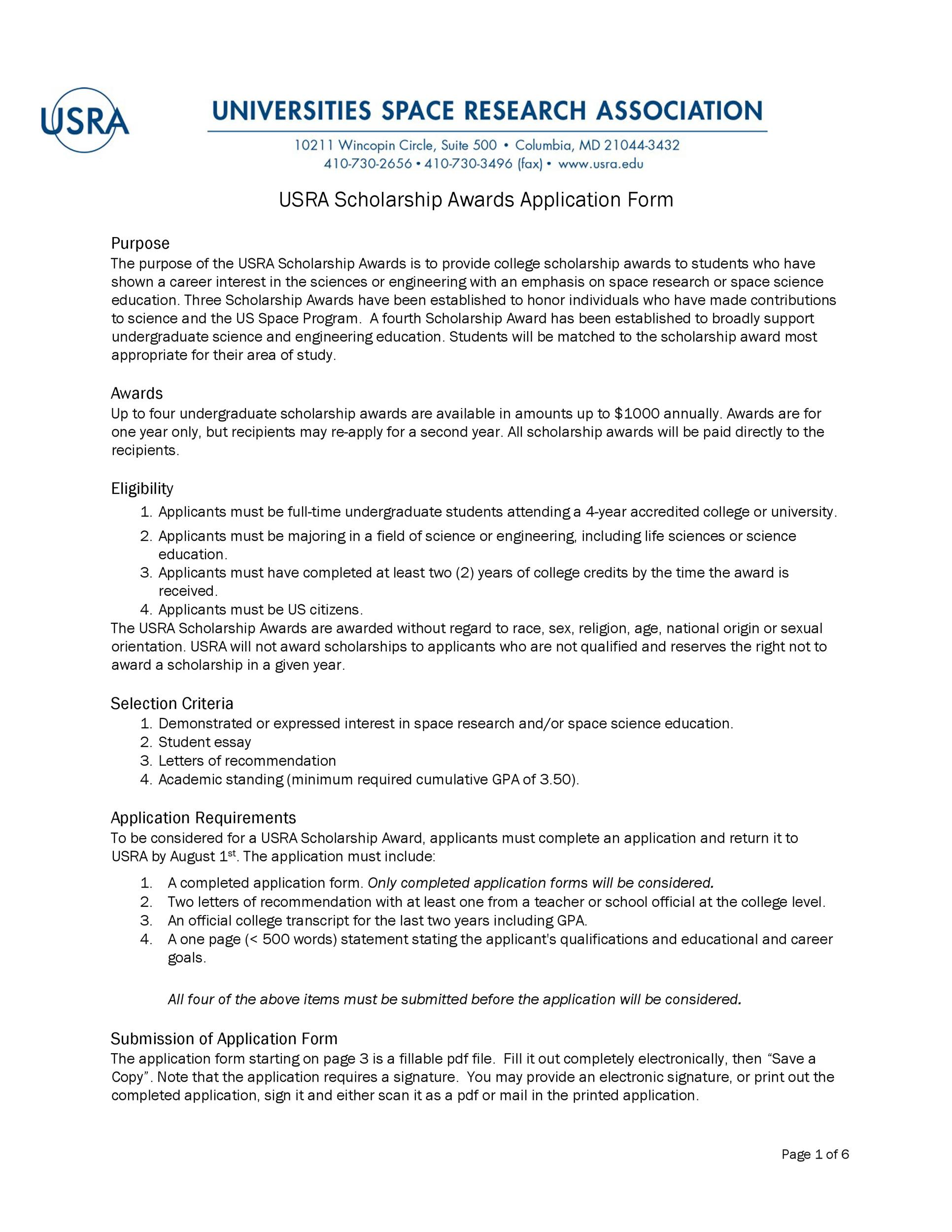 Free Scholarship Application Template 22