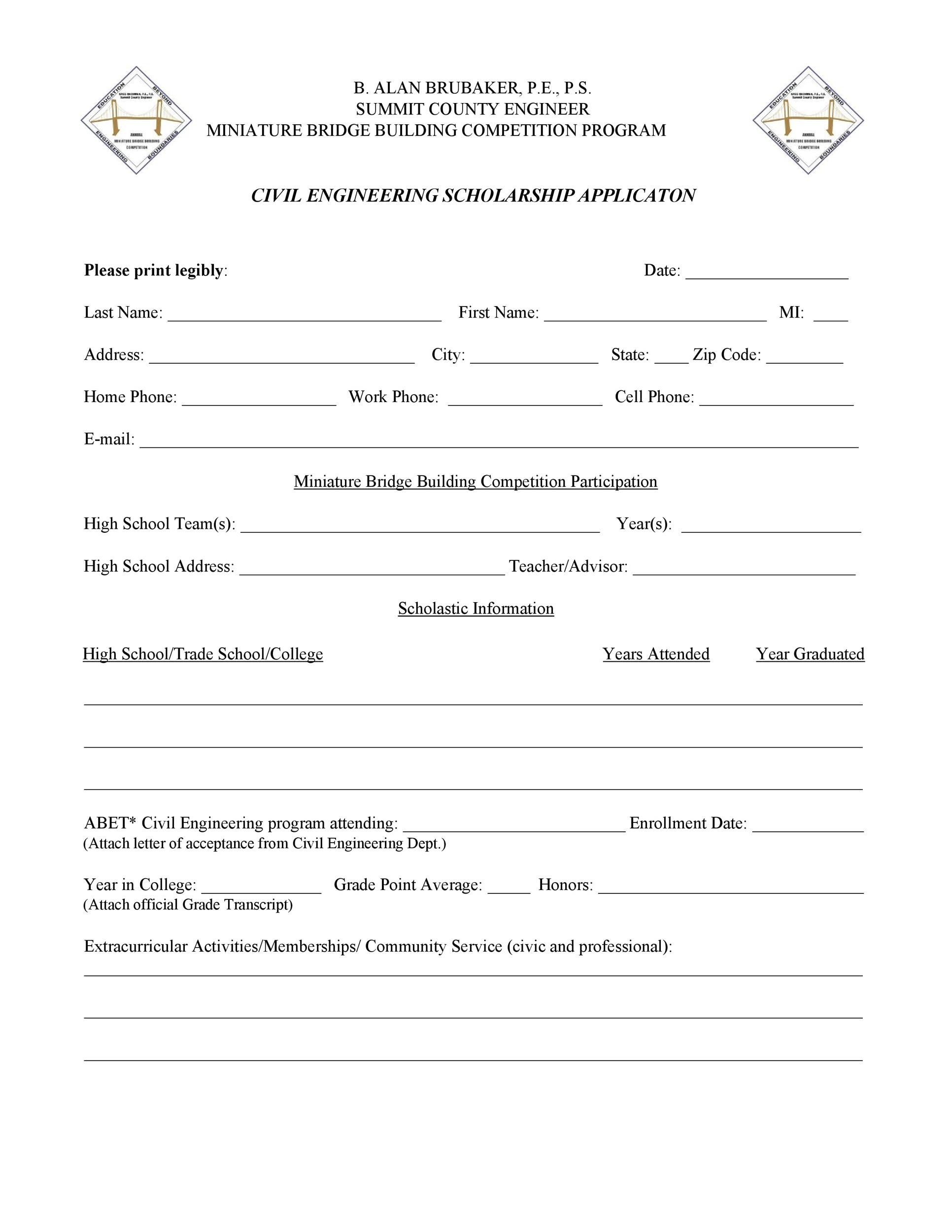 Free Scholarship Application Template 24