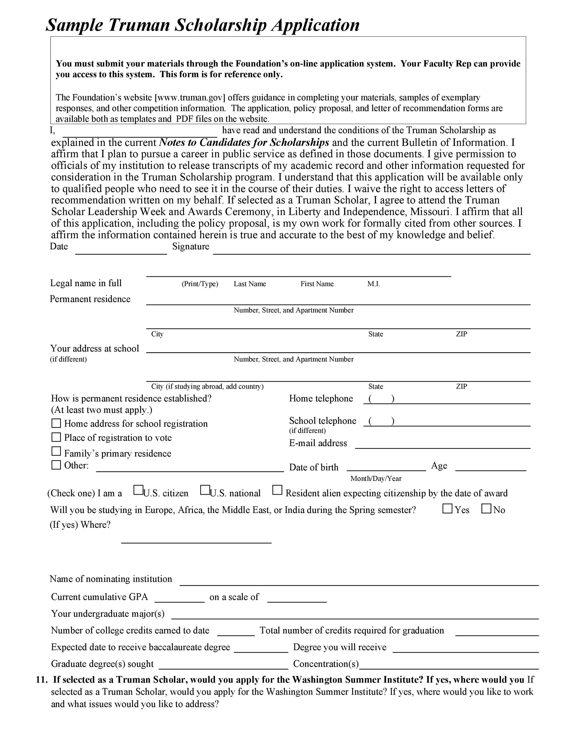 Free Scholarship Application Template 25