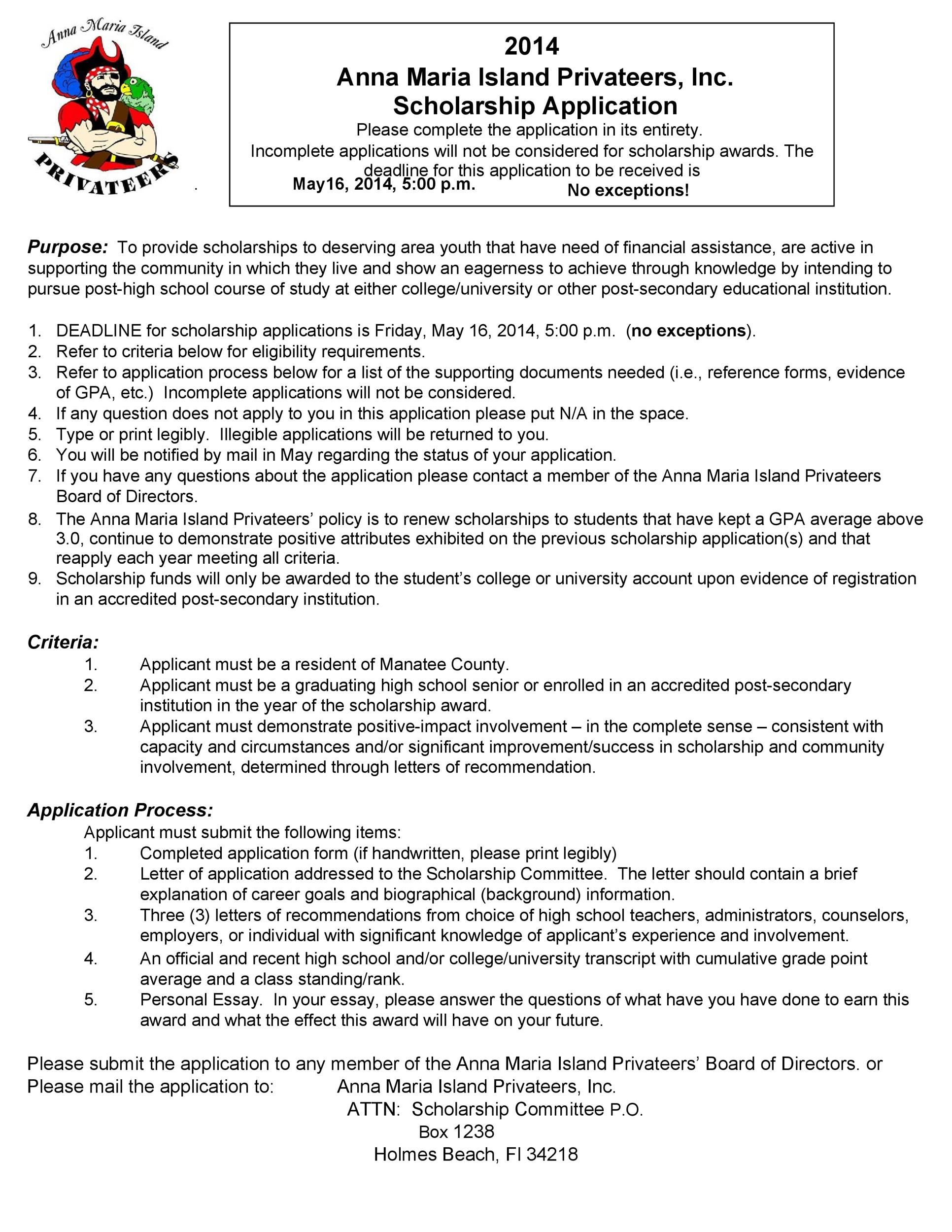Free Scholarship Application Template 26