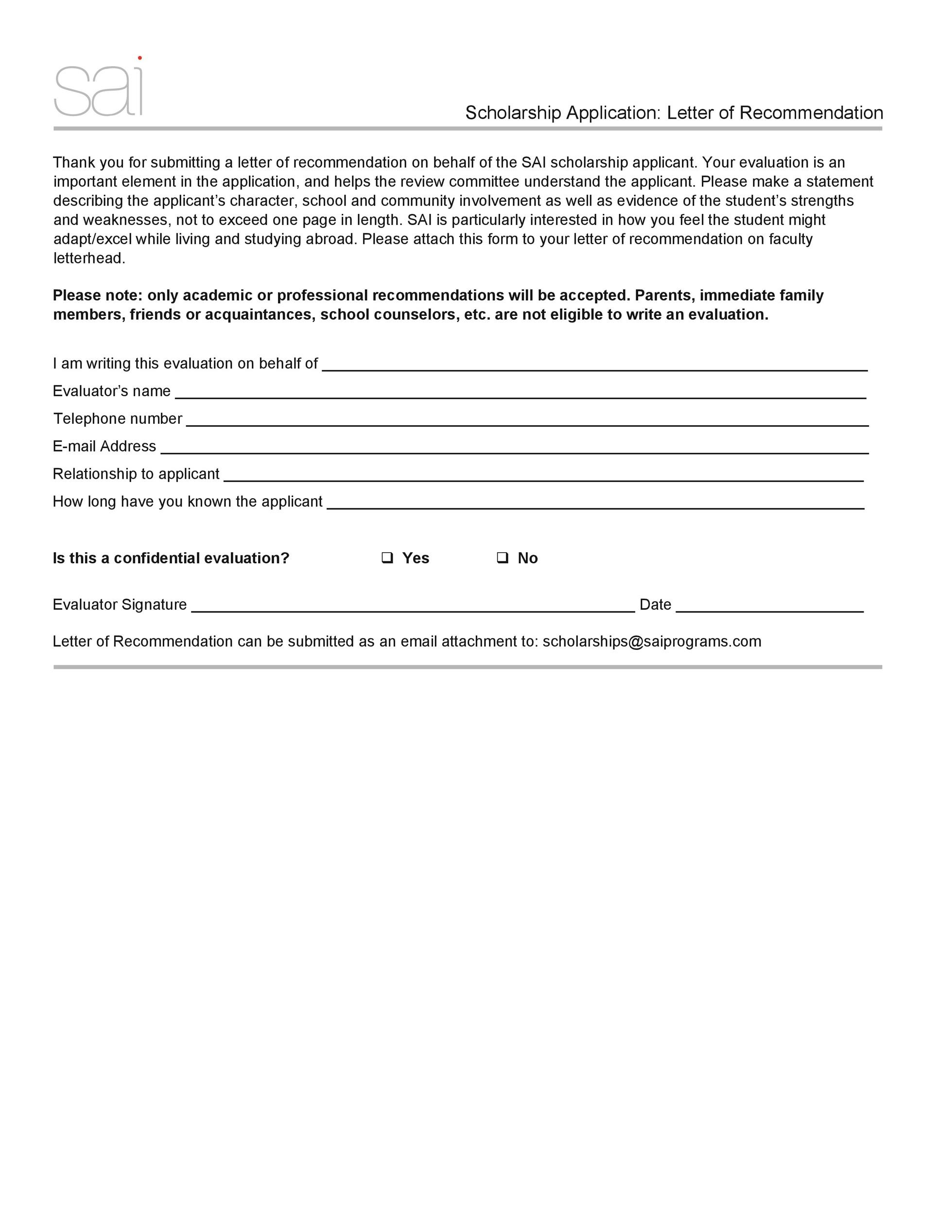 Free Scholarship Application Template 27