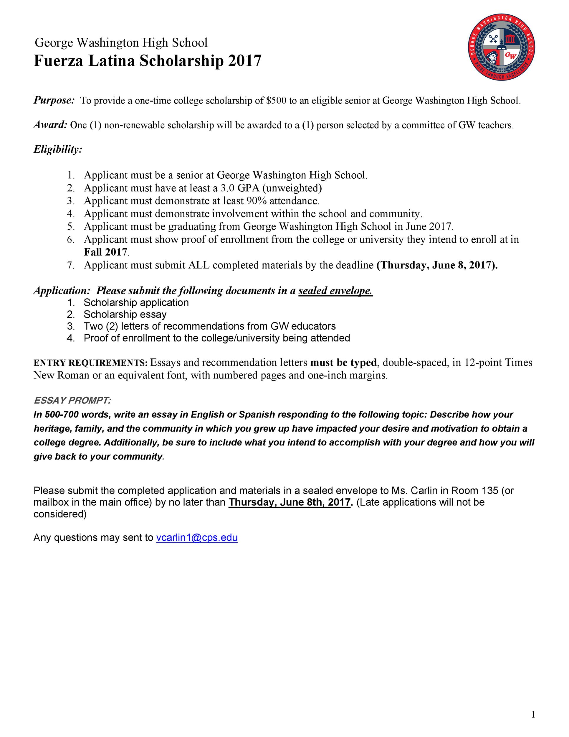 Free Scholarship Application Template 29