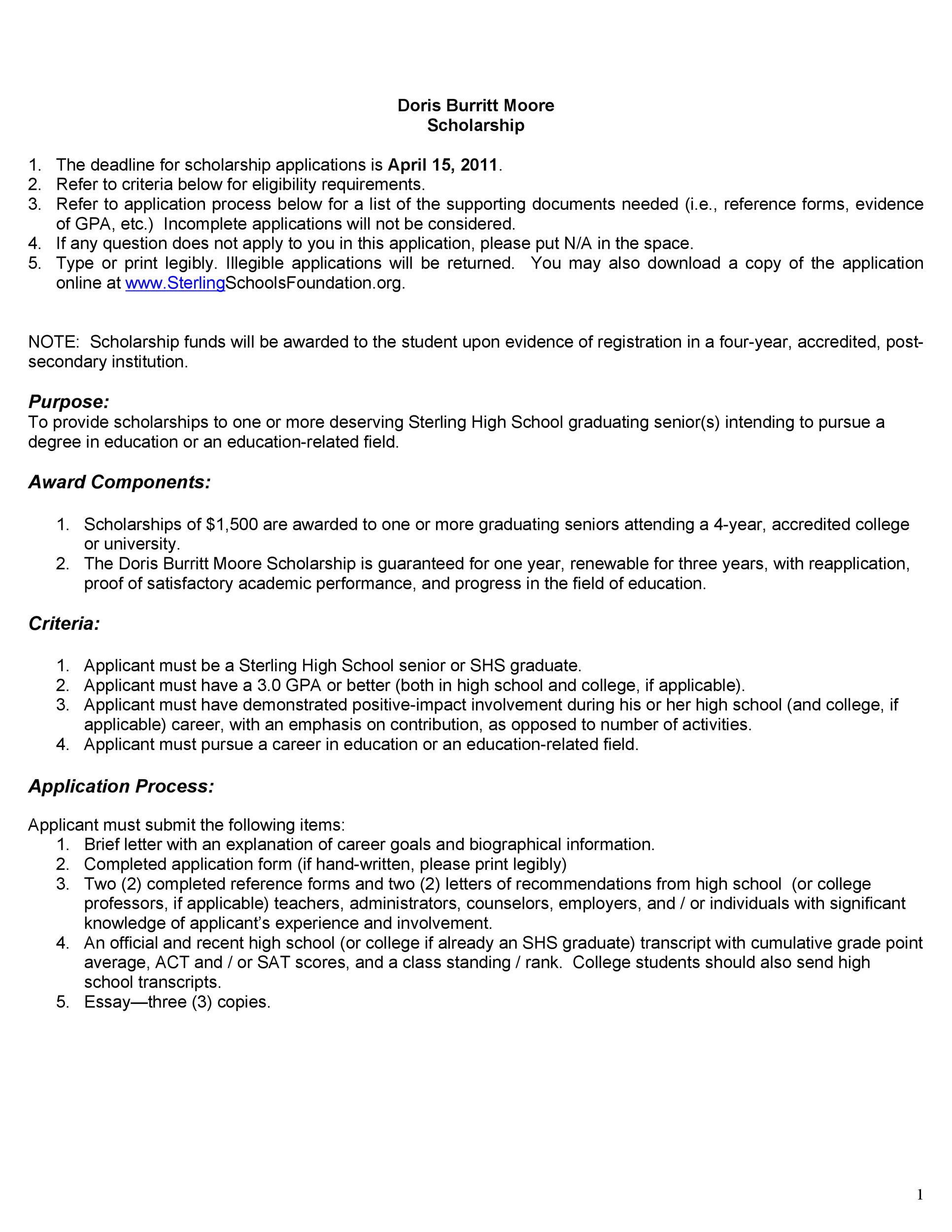 Free Scholarship Application Template 37