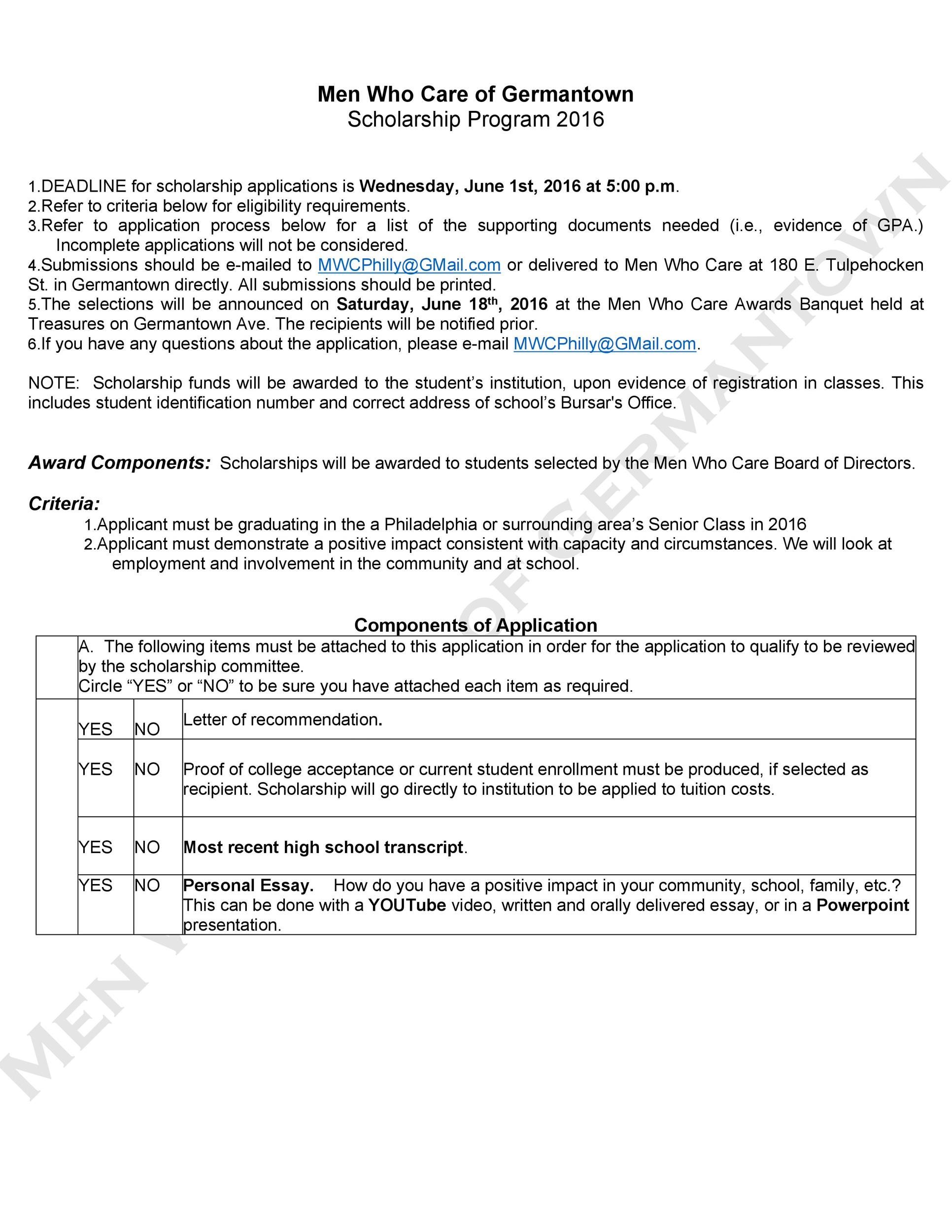 Free Scholarship Application Template 40