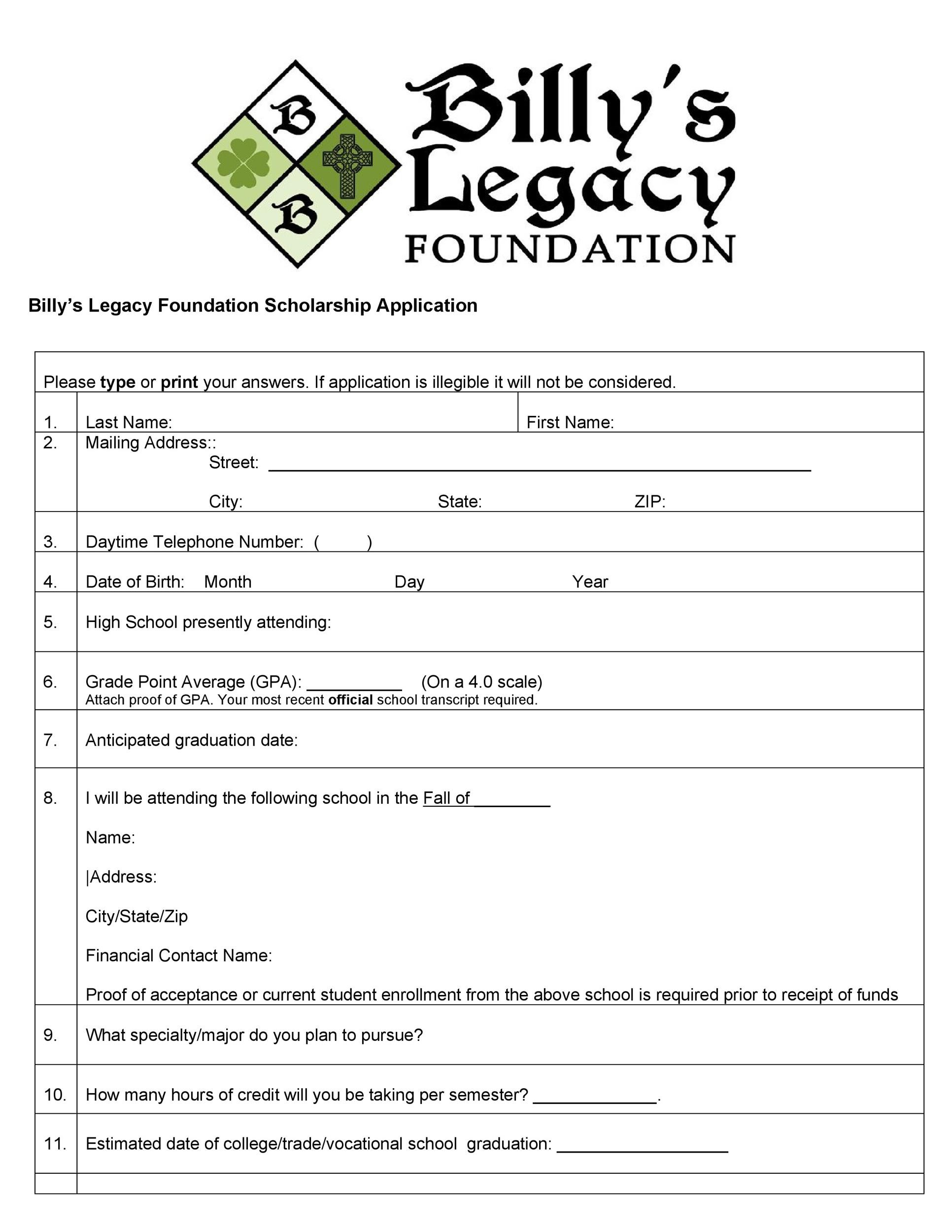 Free Scholarship Application Template 42