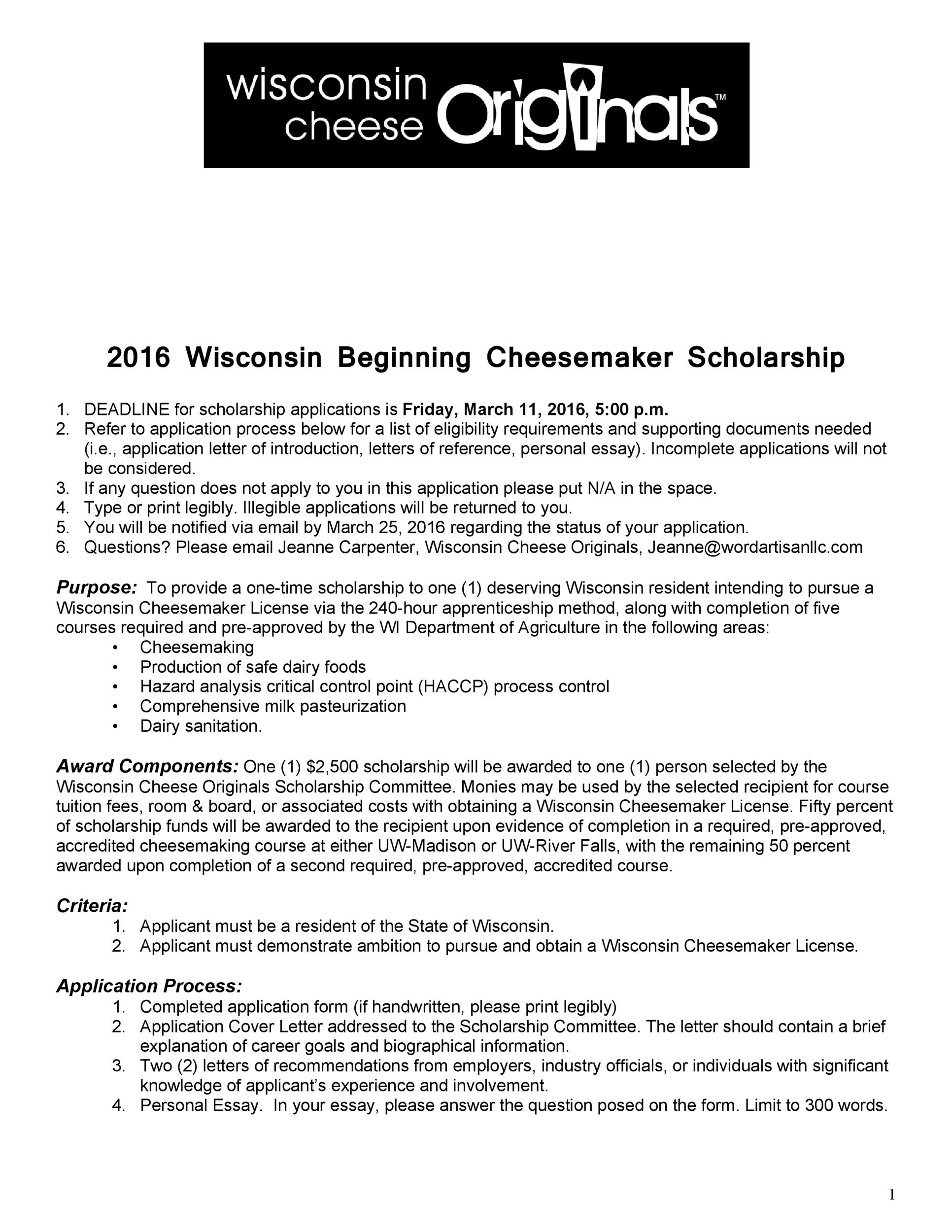Free Scholarship Application Template 43