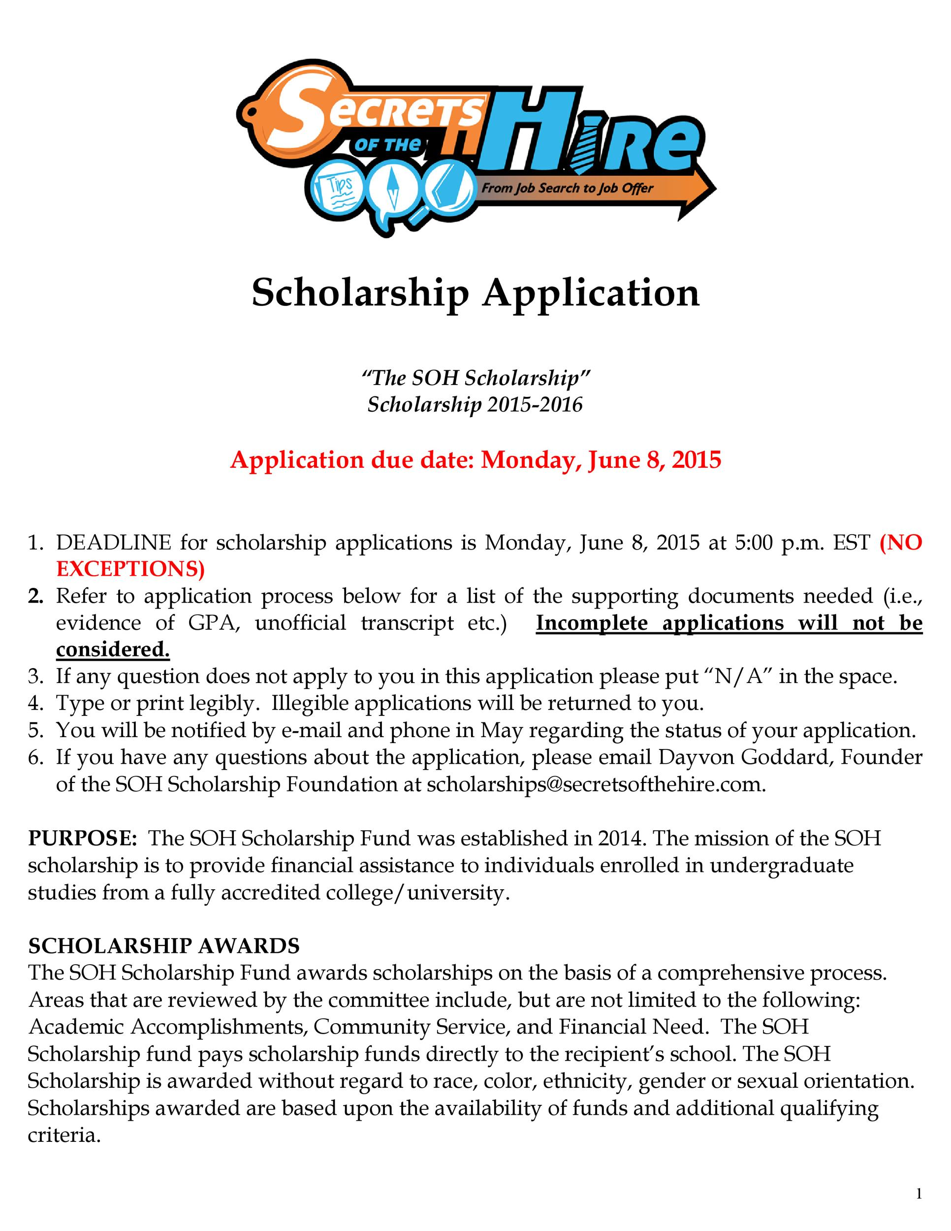 Free Scholarship Application Template 50